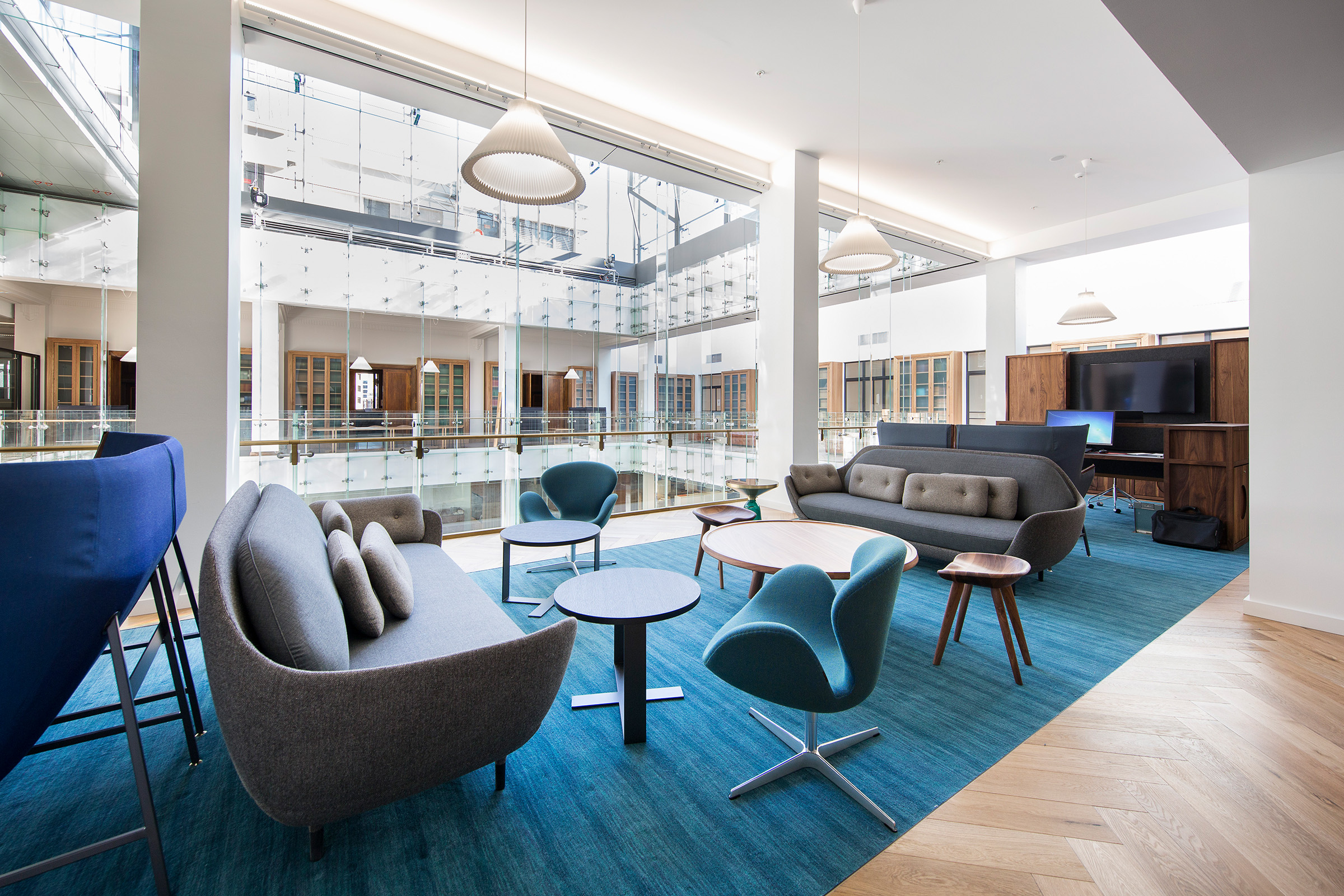 Interior architectural photography common breakout area seating