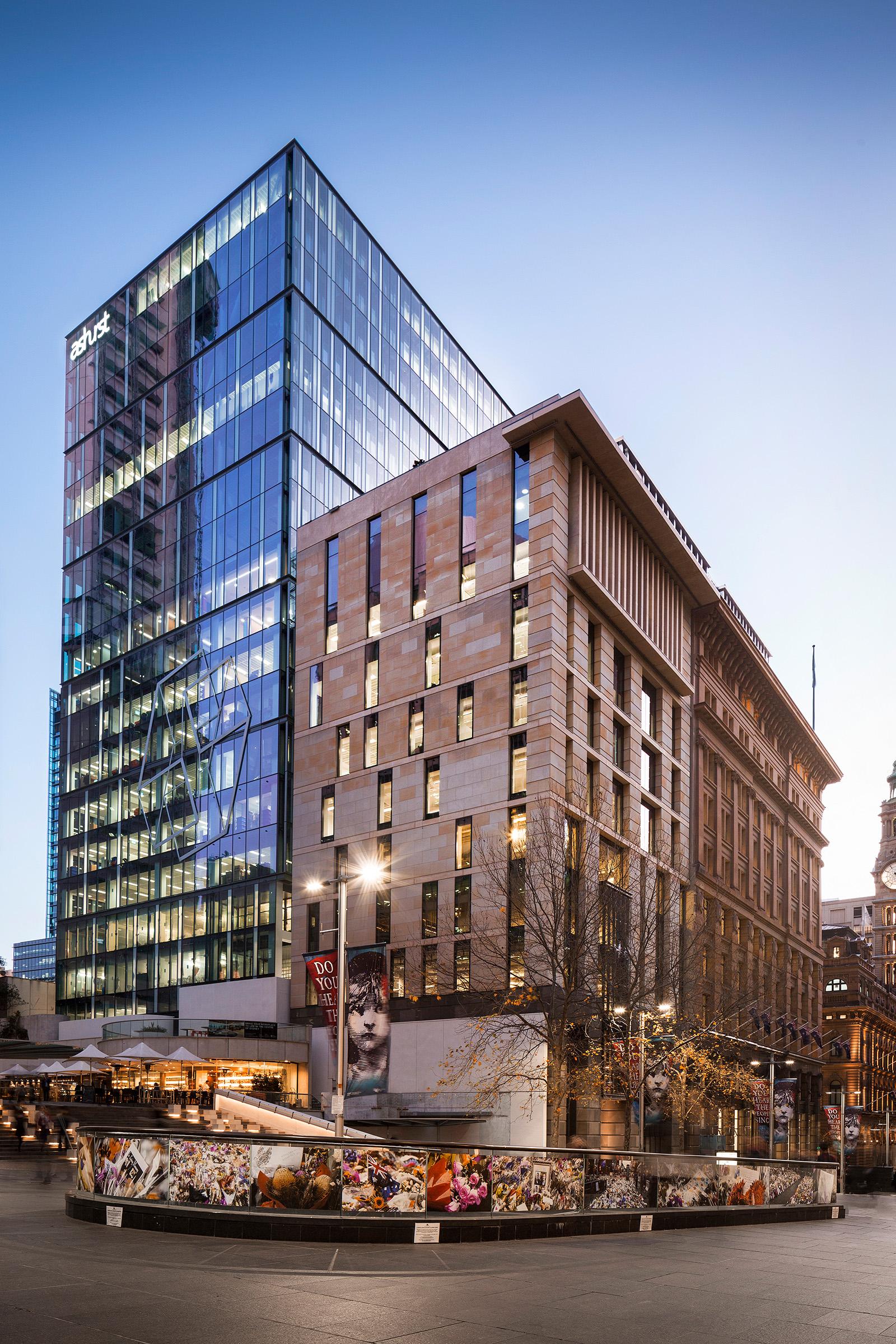 Architectural photography Ashurst building exterior dusk Sydney