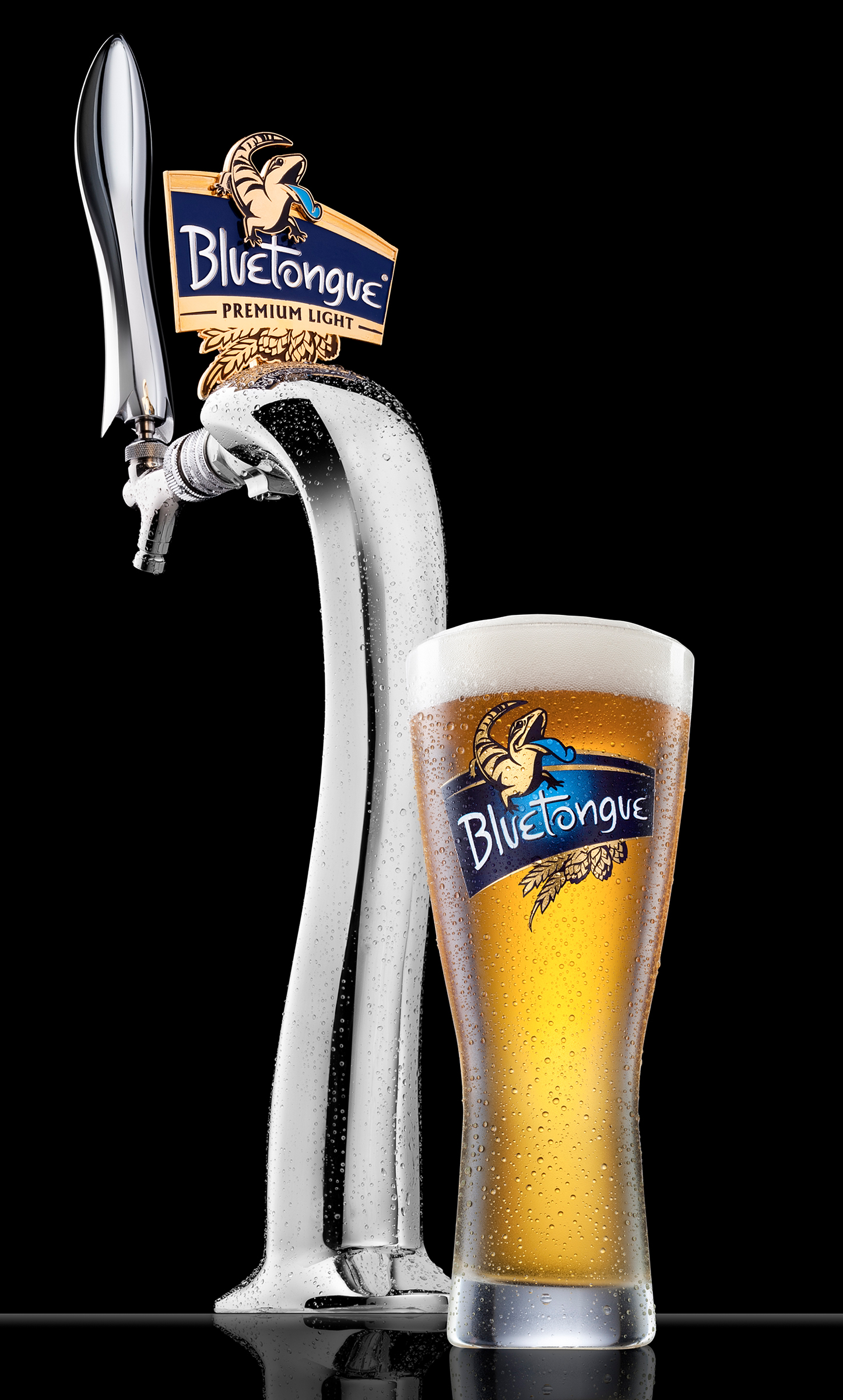 Advertising product alcohol beer photography Bluetongue beer tap and schooner of beer