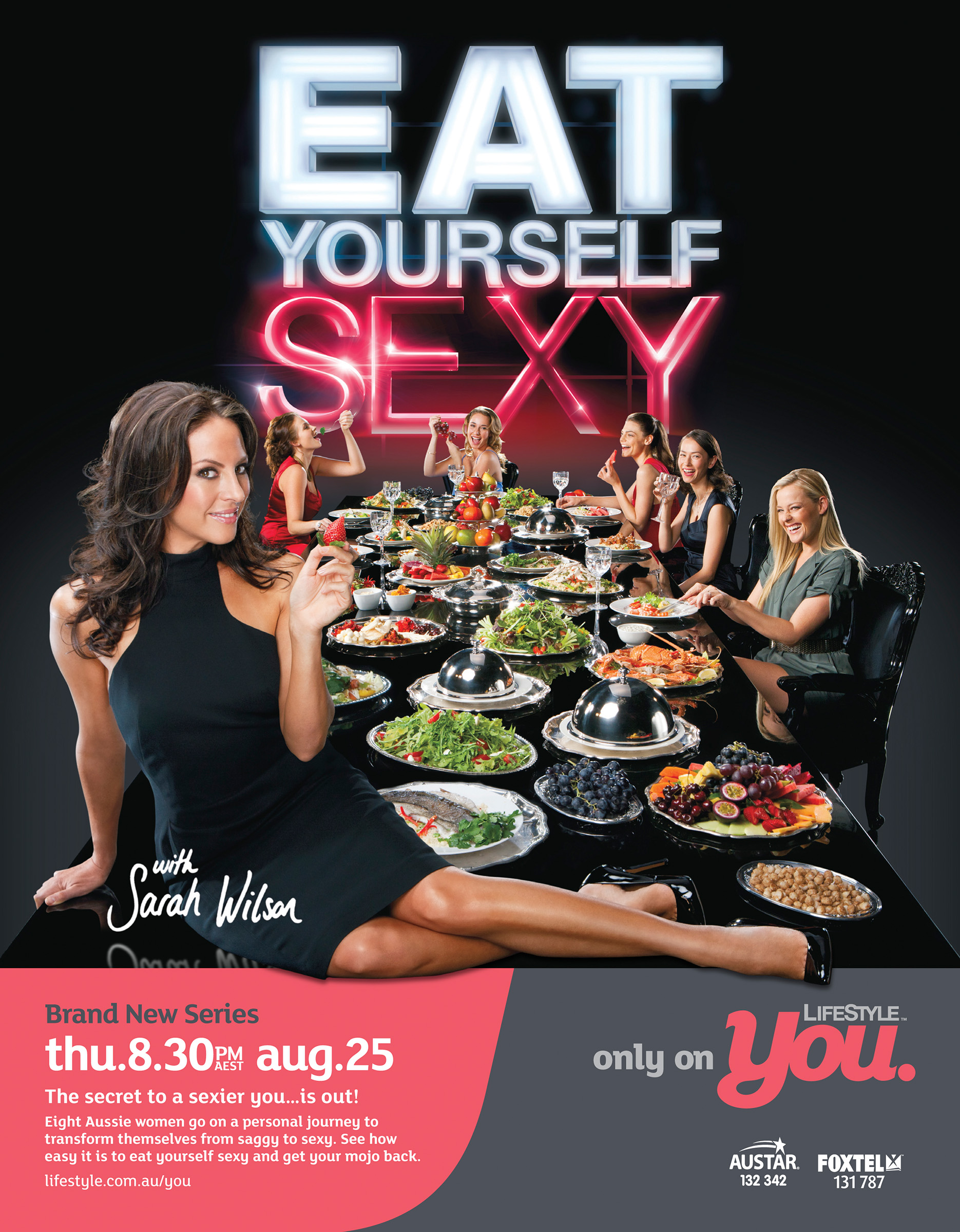 Advertising photography Eat Yourself Sexy Foxtel Life Style host Sarah Wilson sitting on table filled with food