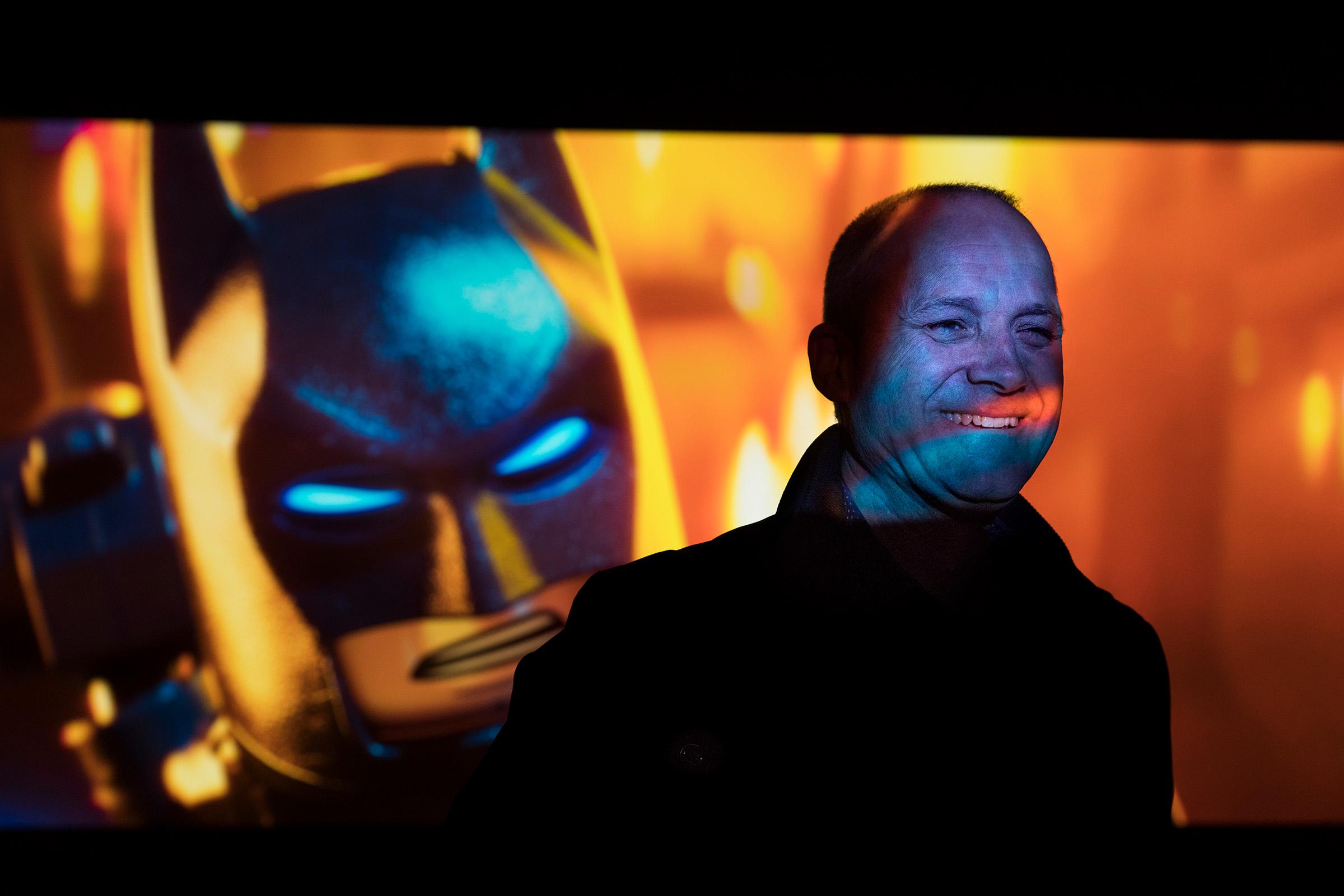 Editorial studio portrait close up photography for Engineers Australia Guy Griffiths Animal Logic Lego Batman
