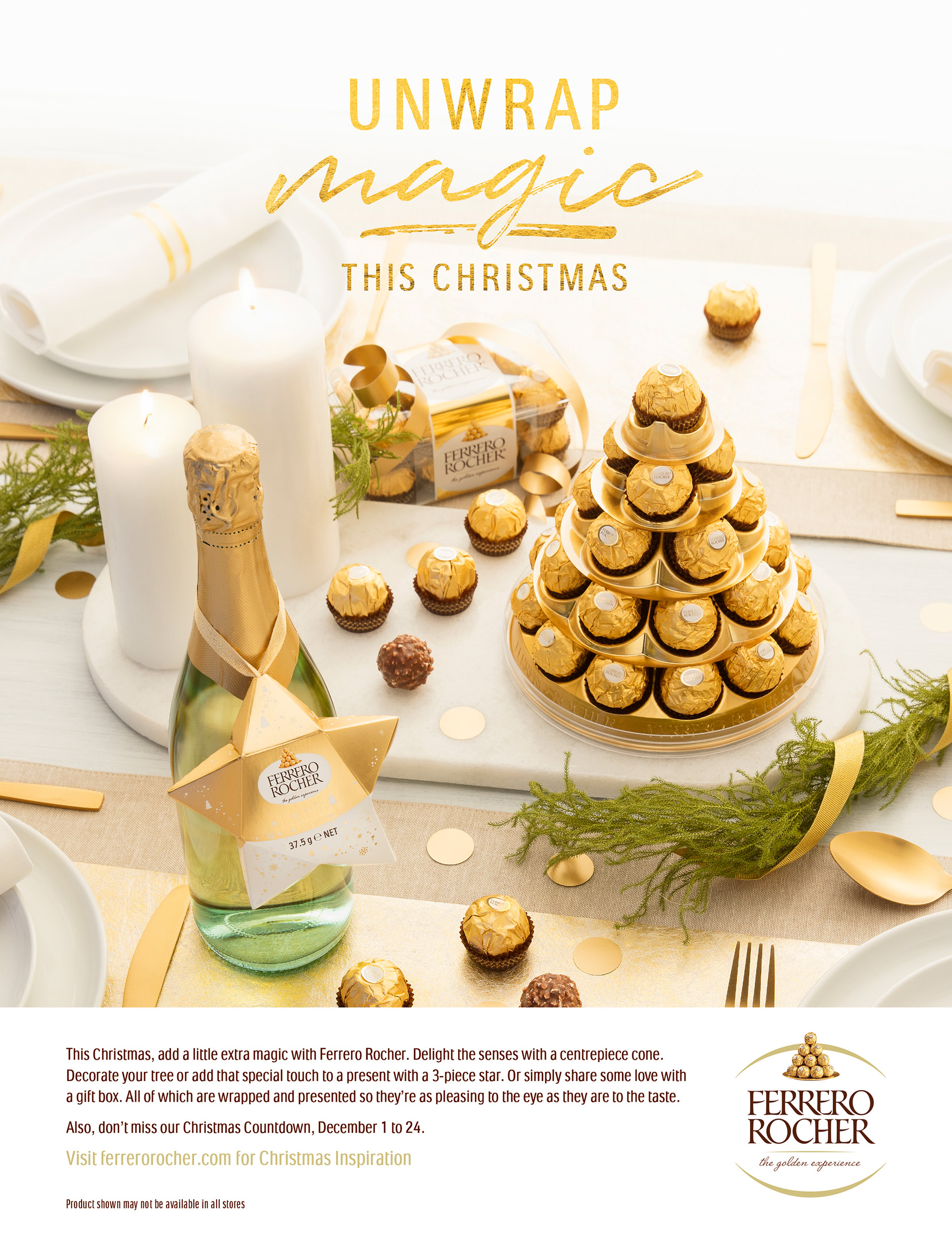 Advertising studio product food photography for Ferrero Rocher of Christmas unwrap magic campaign