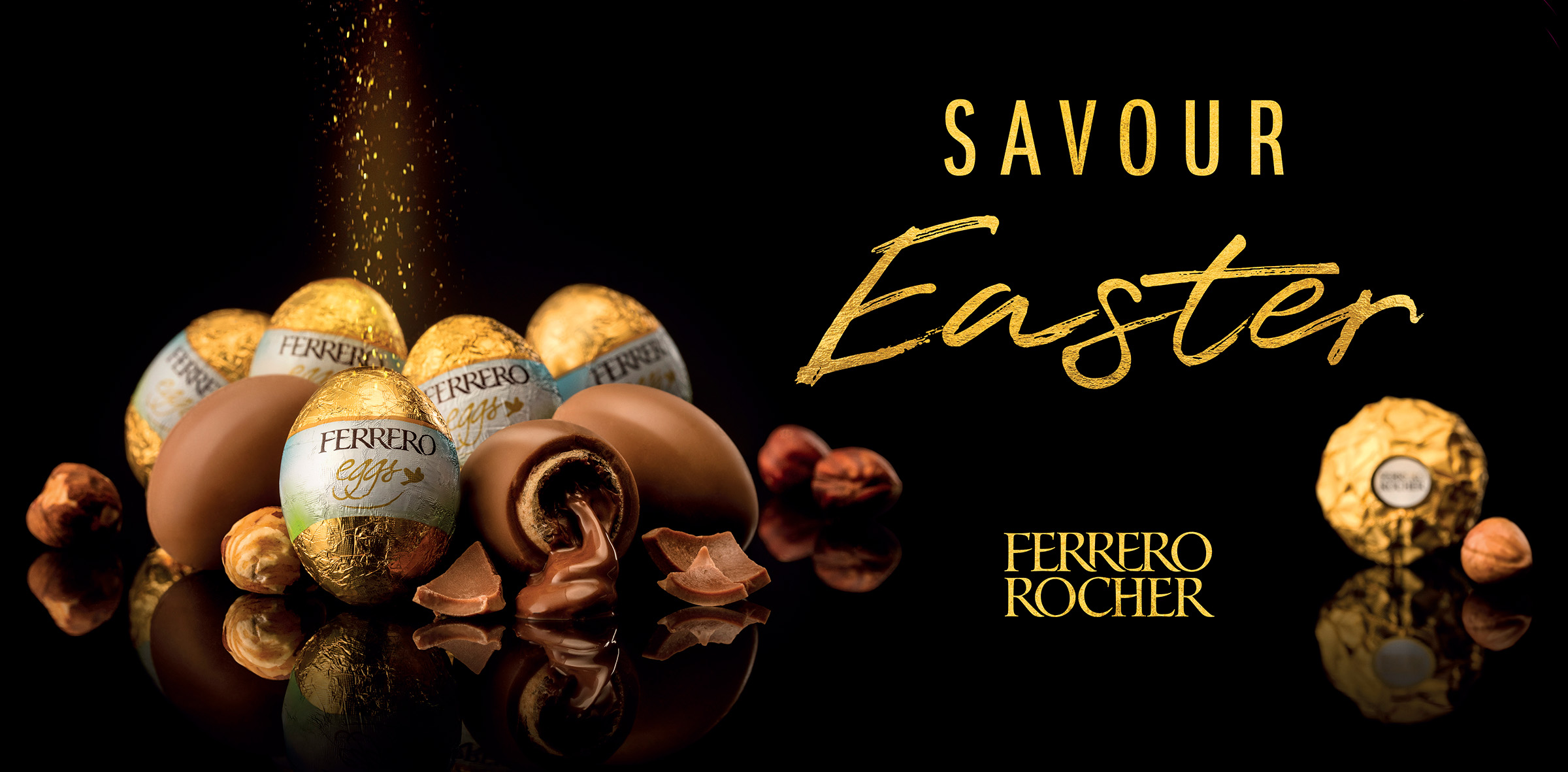 Advertising studio product food photography for Ferrero Rocher of easter eggs