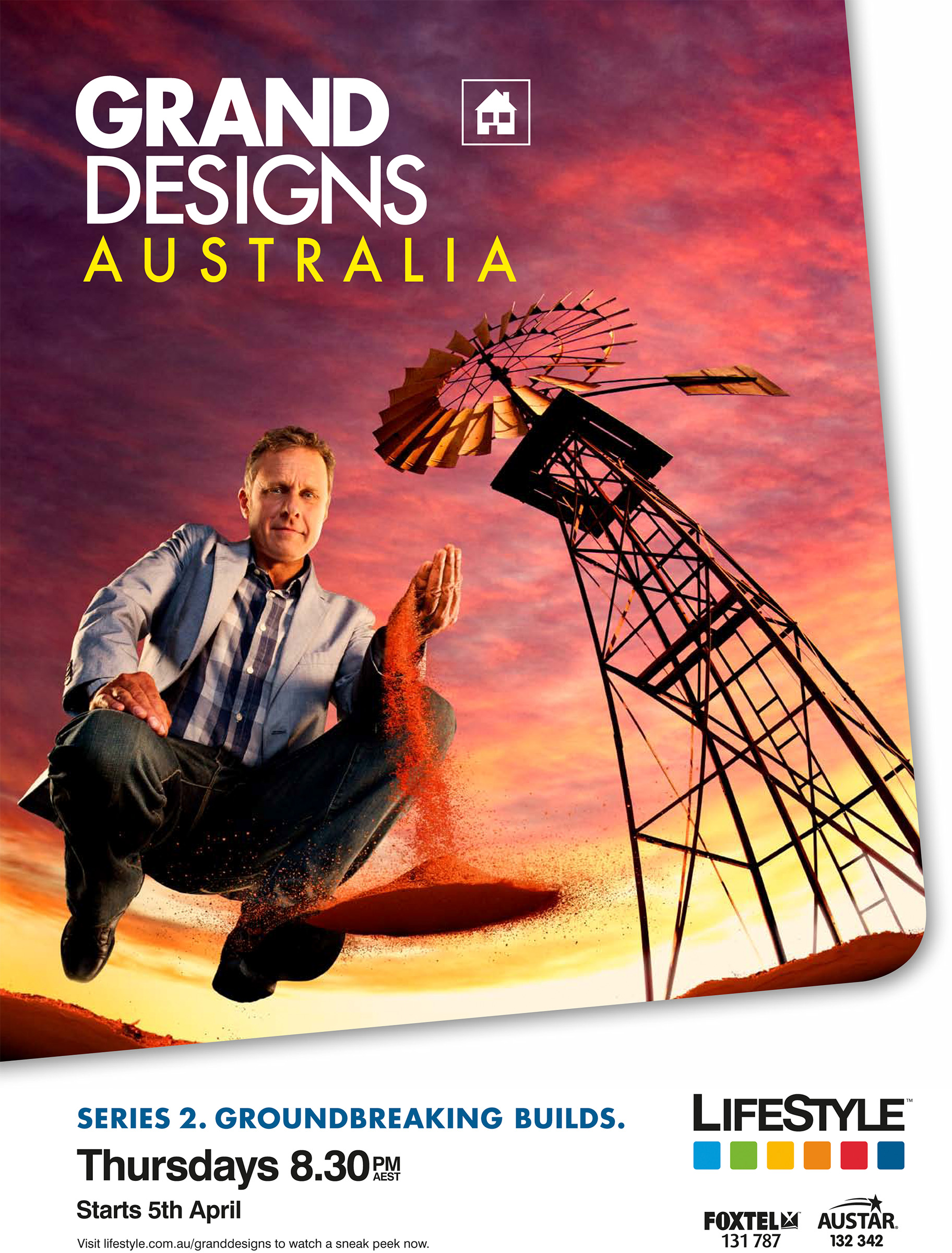 Grand Designs Australia advertising campaign Foxtel Life Style with Peter Maddison, Architect, floating, outback windmill
