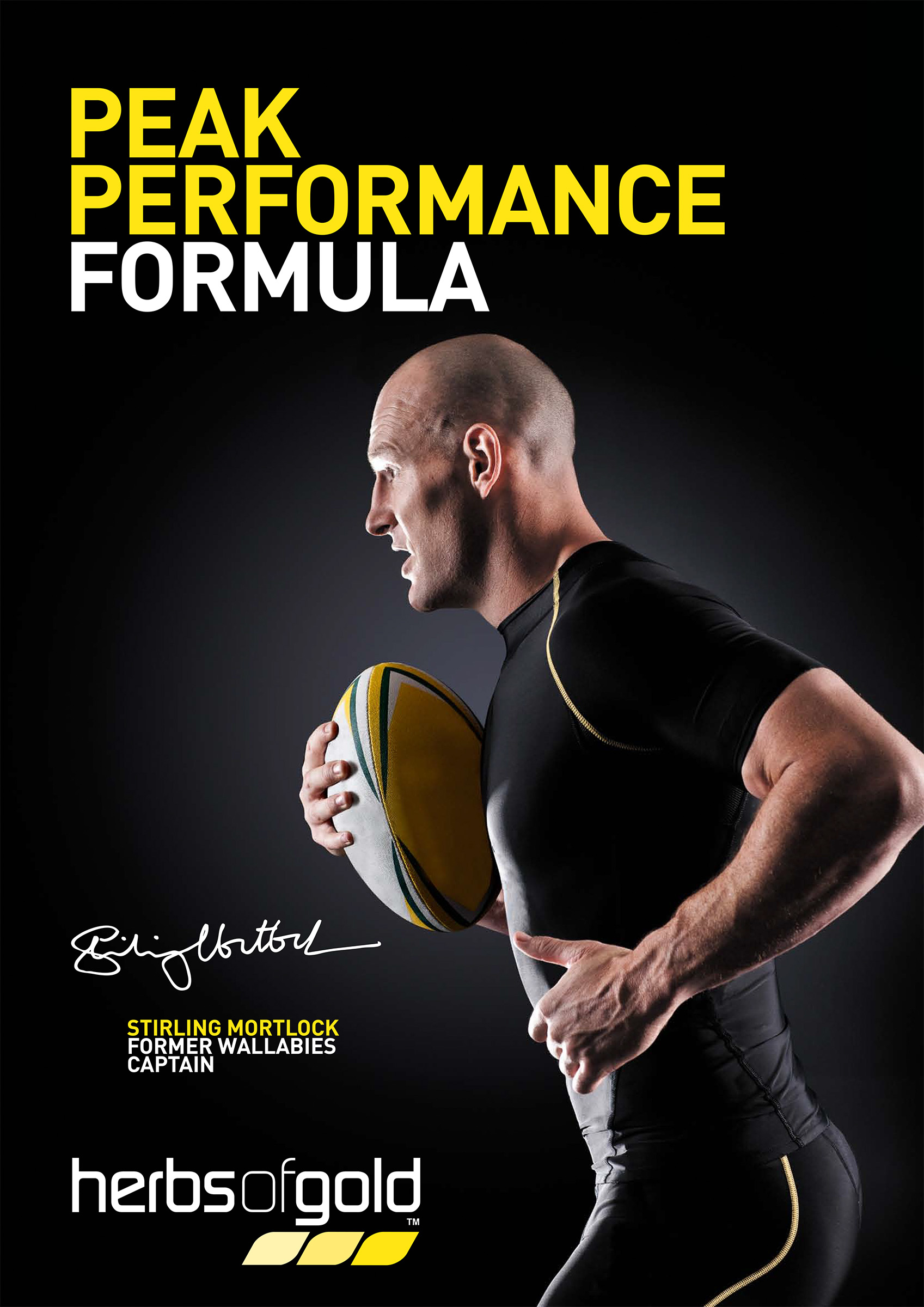 Advertising studio photography for Herbs of Gold of Stirling Mortlock running with rugby ball