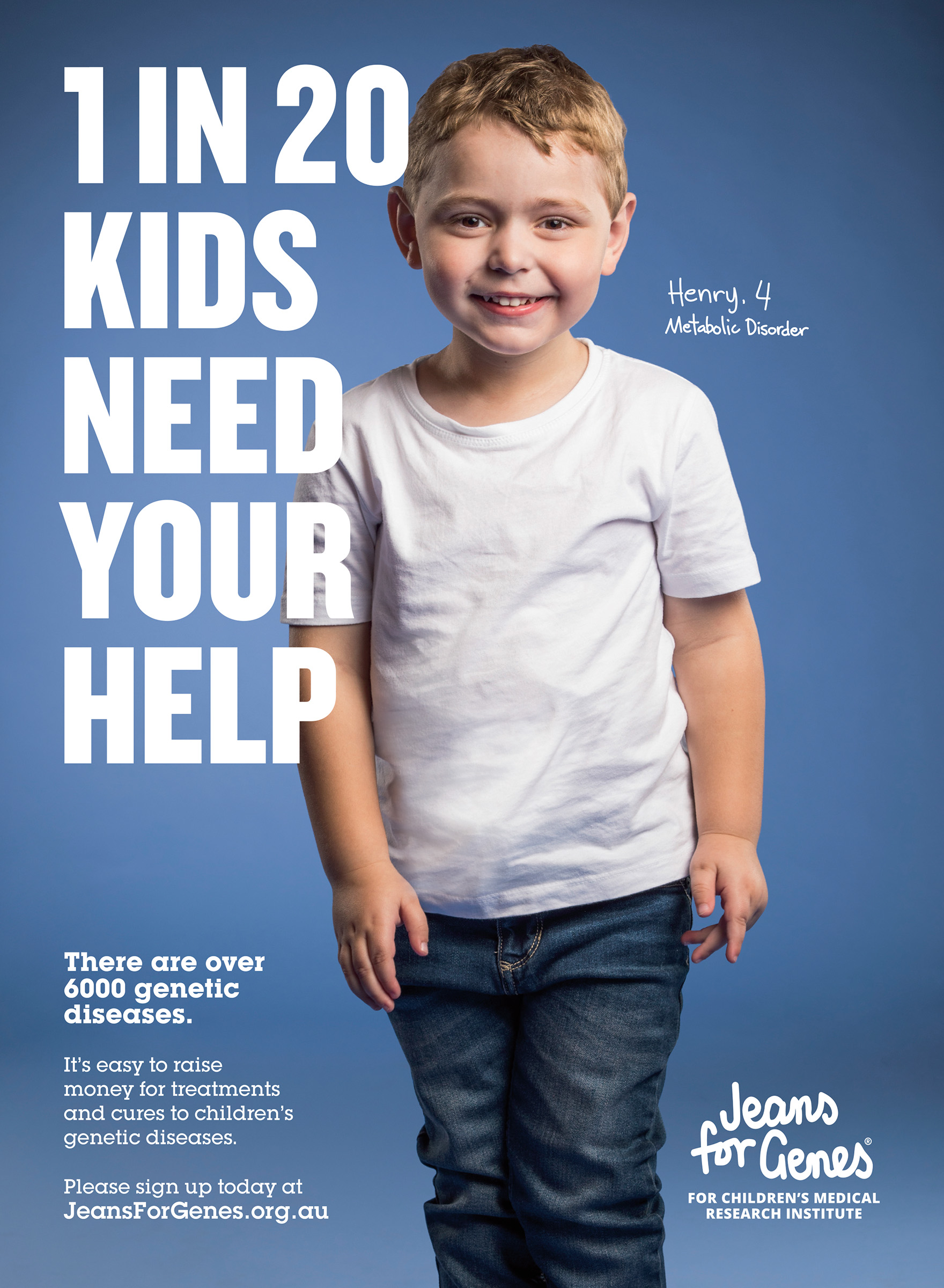Advertising campaign studio photography for Jeans for Genes of a little boy with Metabolic disorder