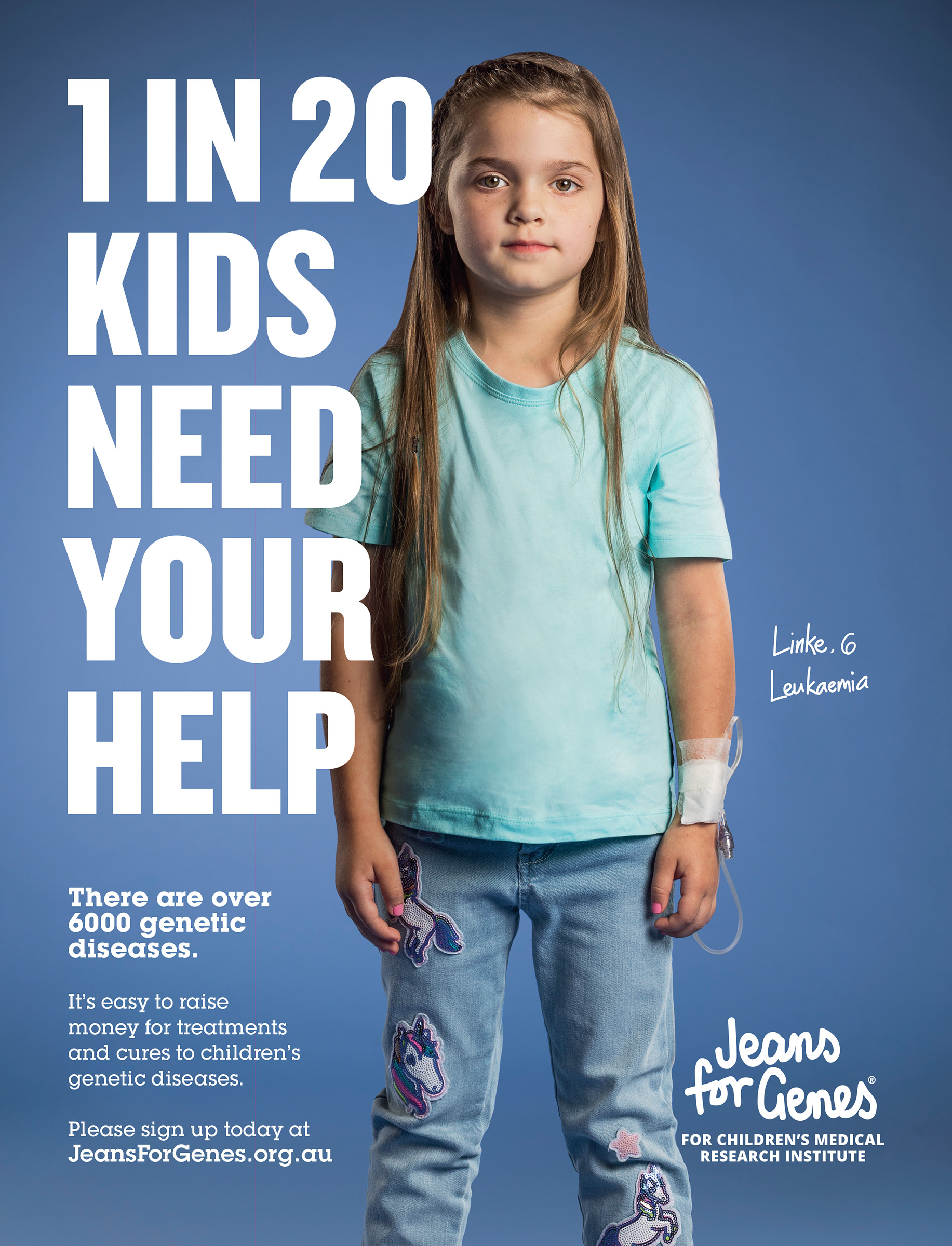 Advertising campaign studio photography for Jeans for Genes of a little girl with Leukaemia