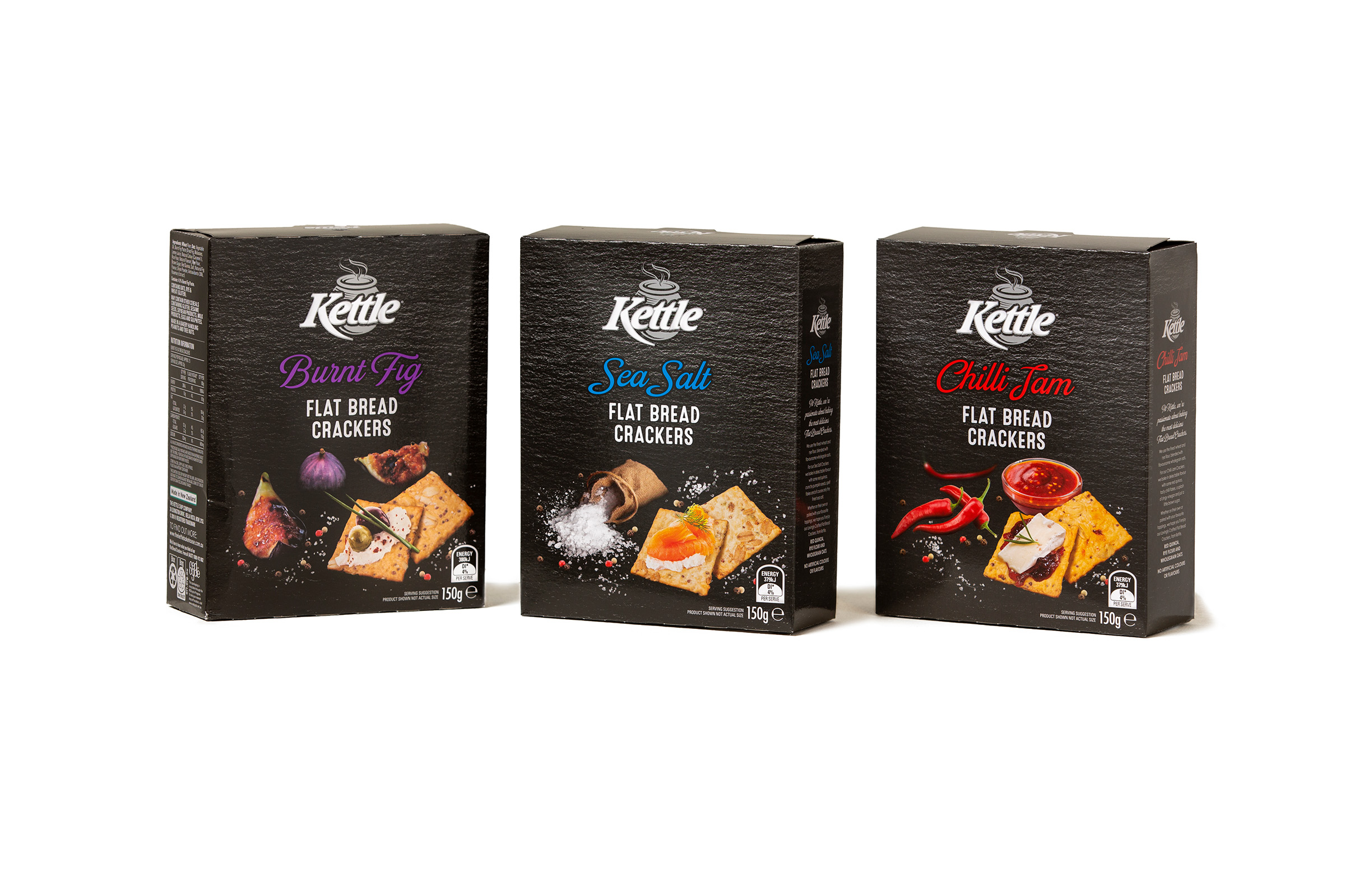 Advertising studio product photography of Kettle Crackers Range on a white background