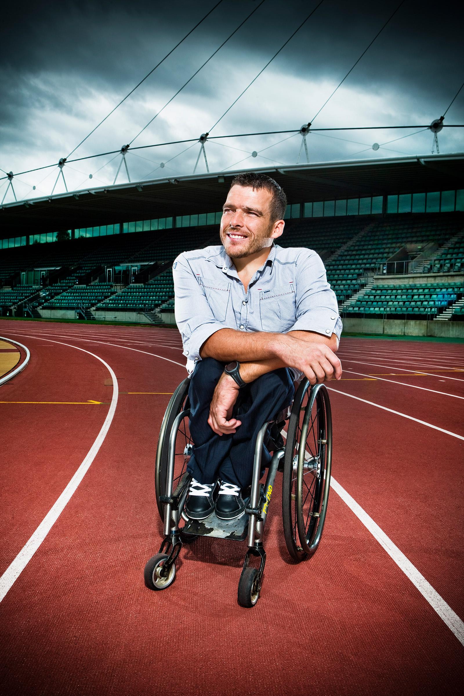 Editorial location photography of Kurt Fernley, Australian athlete, Paralympics, wheelchair racer