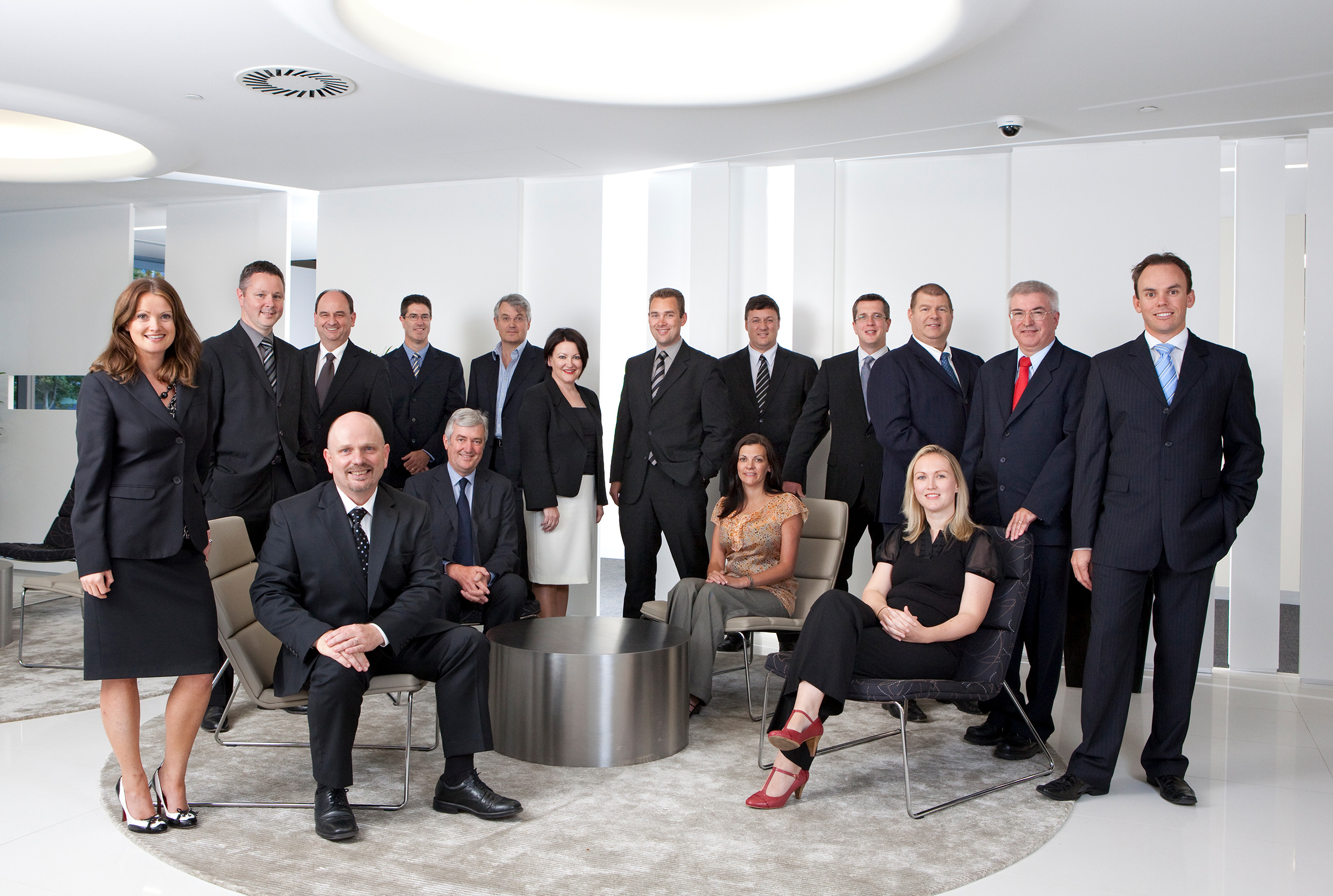 Corporate location casual staff group shot photography Alcatel office reception background