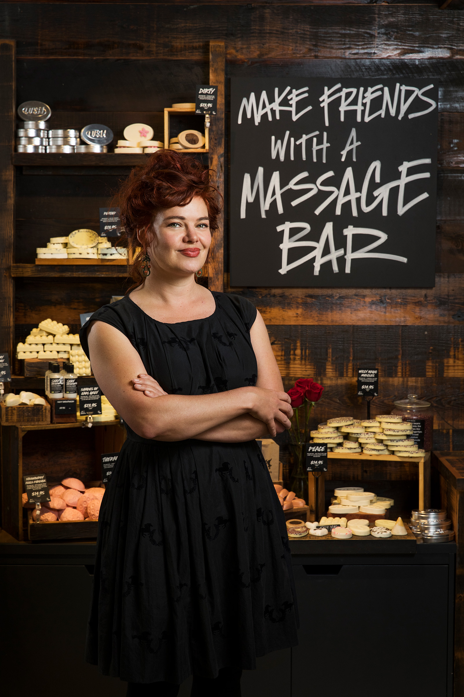 Editorial location photography for Inside Retail of Peta Granger Director of Lush in store