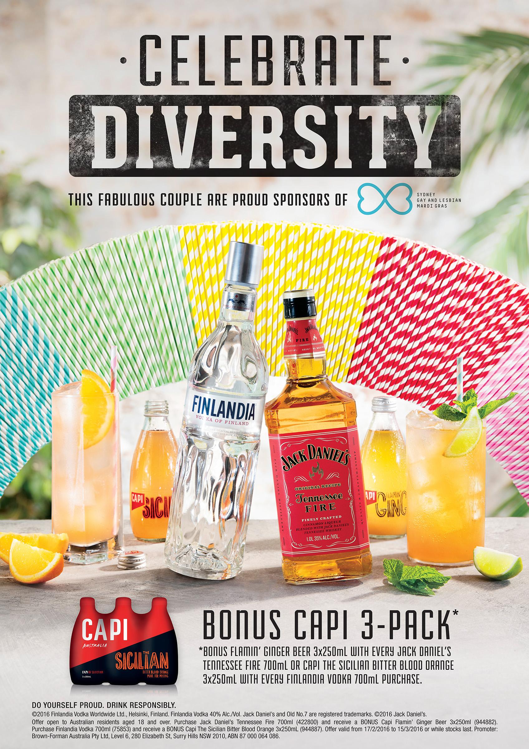 Alcohol product advertising photography Mardi Gras Campaign of Capi Finlandia Jack Daniels