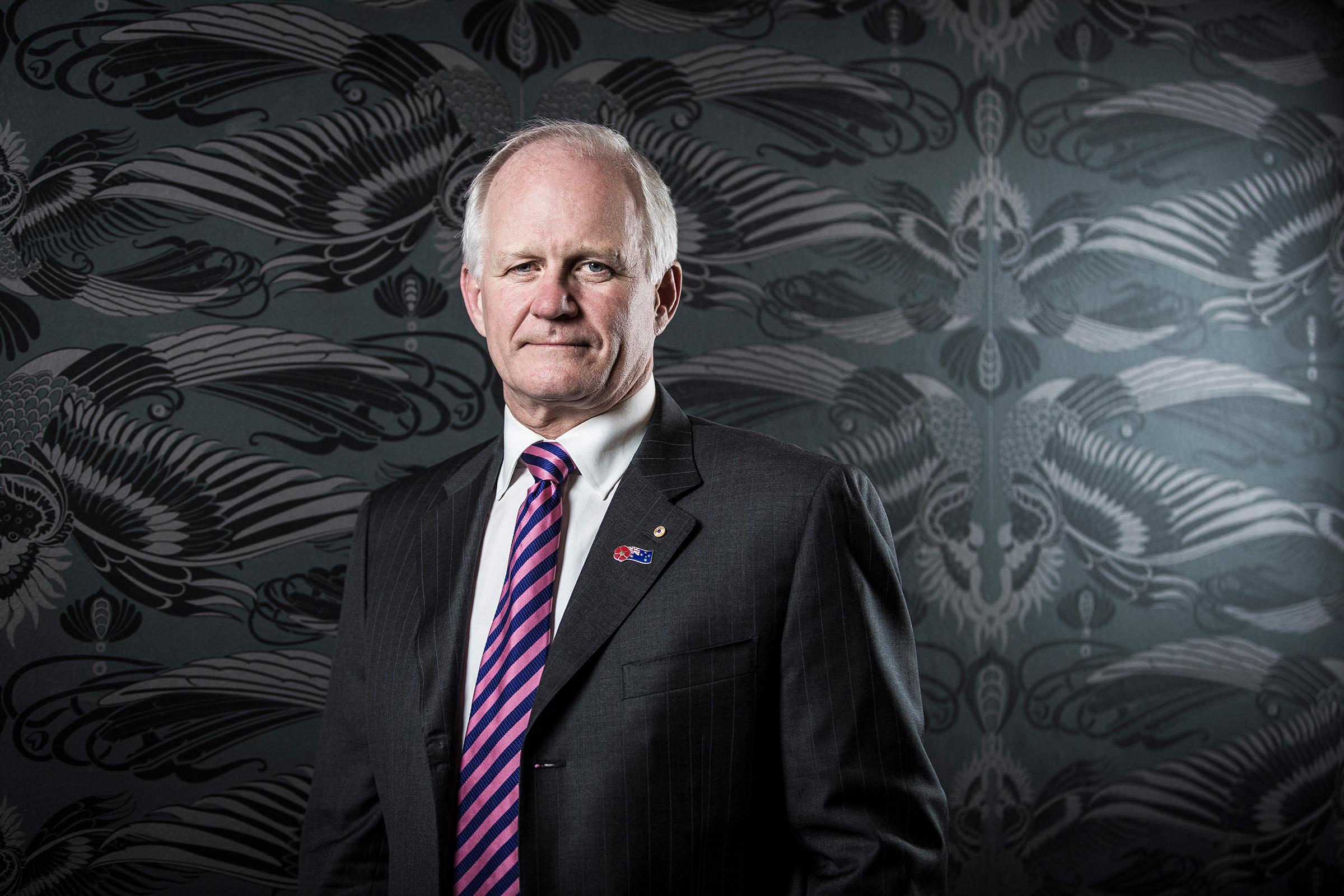 Corporate editorial location Chairman portrait photography Michael Hawker Macquarie Group business attire