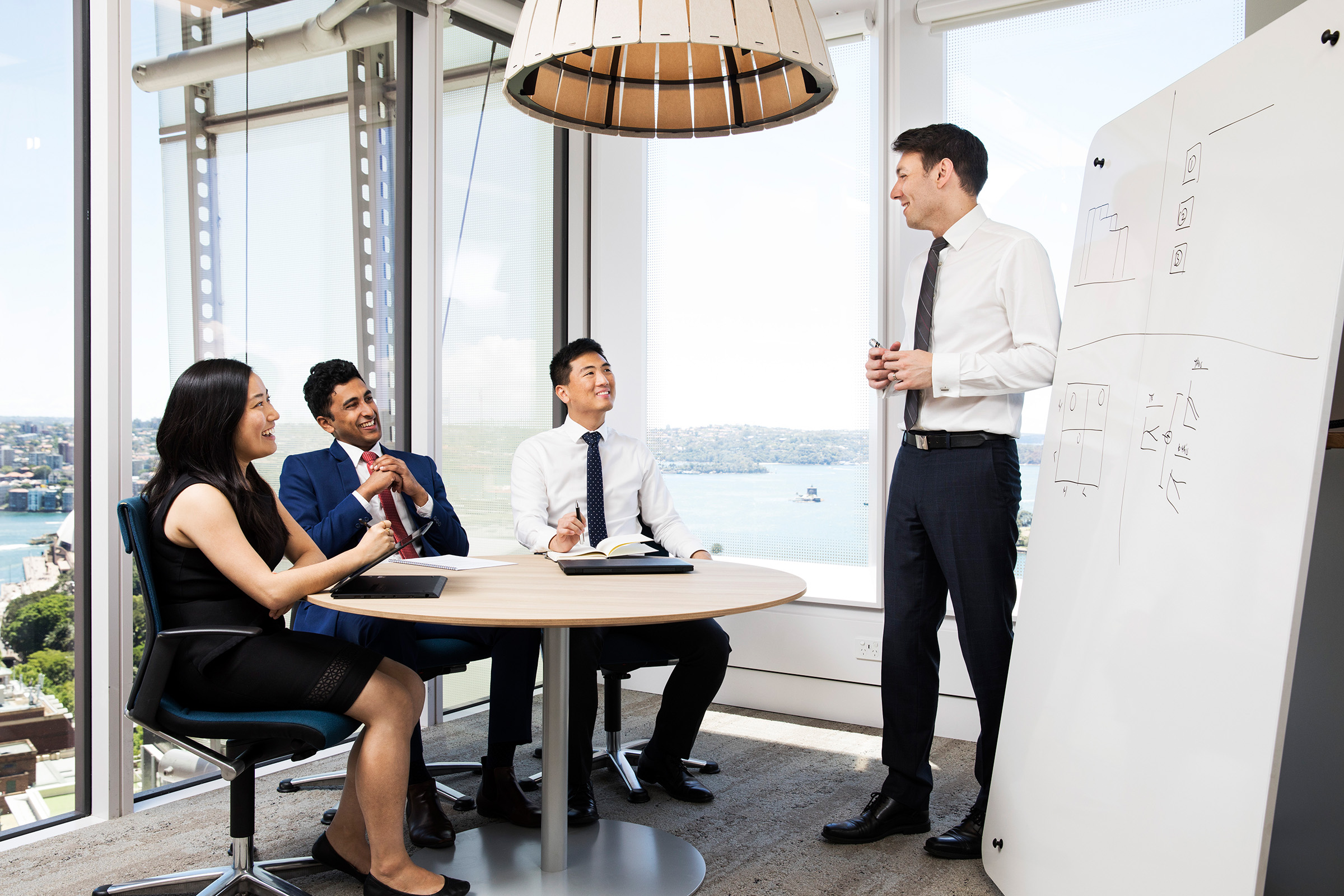 Corporate website working group photography 1 female 3 males seated and standing office harbour background