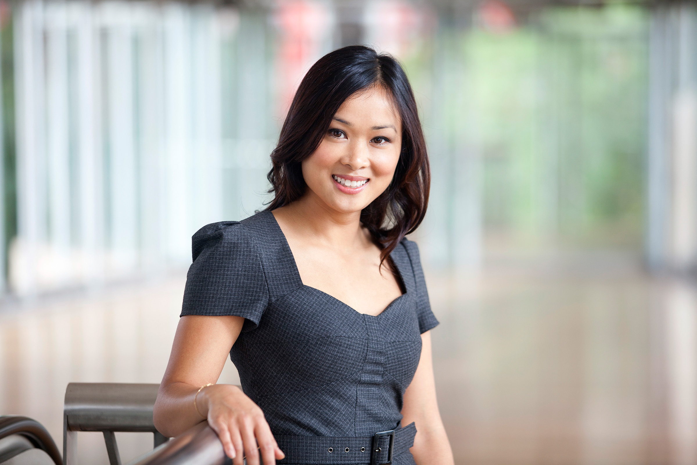 Corporate environmental location portrait photography PWC female business attire