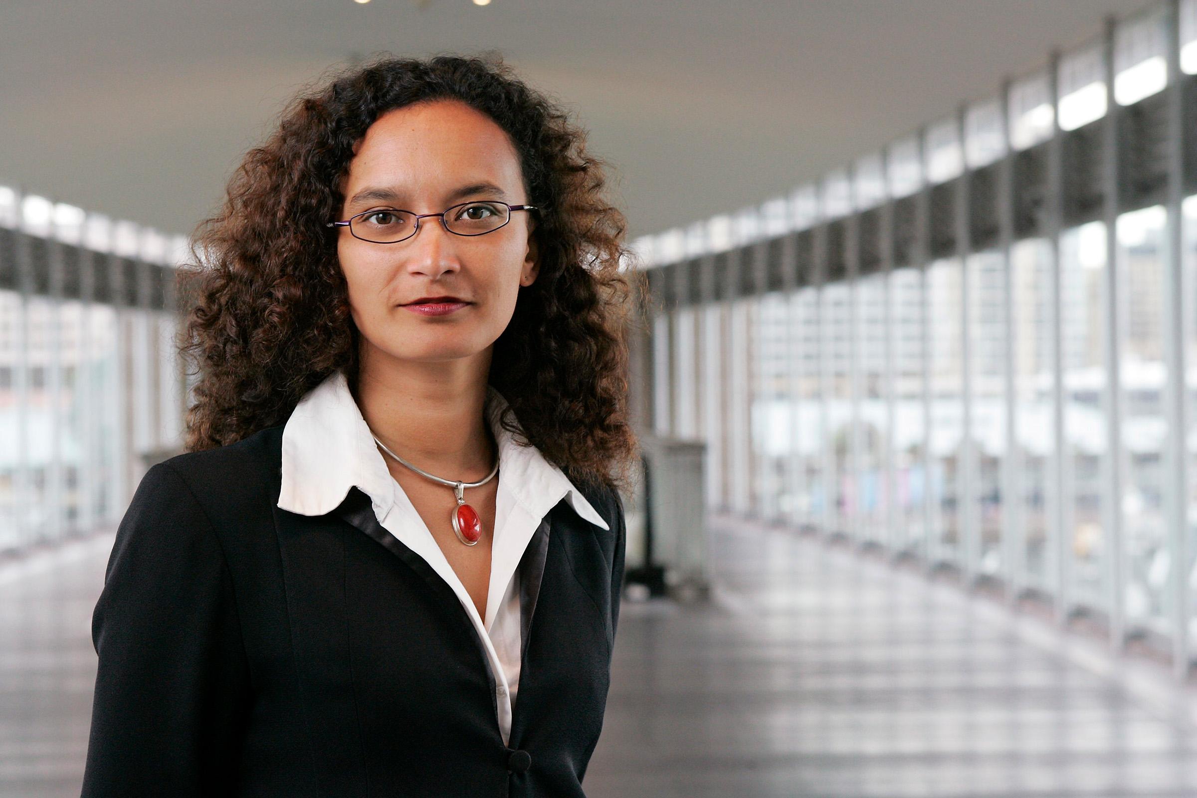 Corporate environmental location portrait photography PWC female black and white business attire