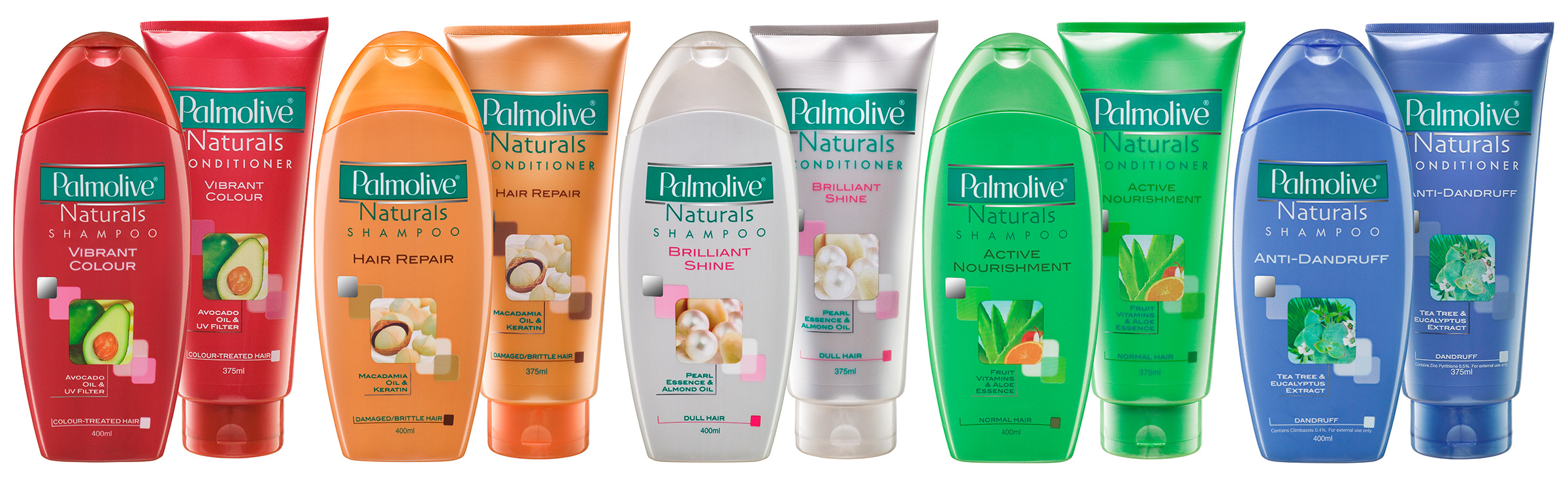 Advertising studio product photography of Palmolive Naturals Shampoo and Conditioner range