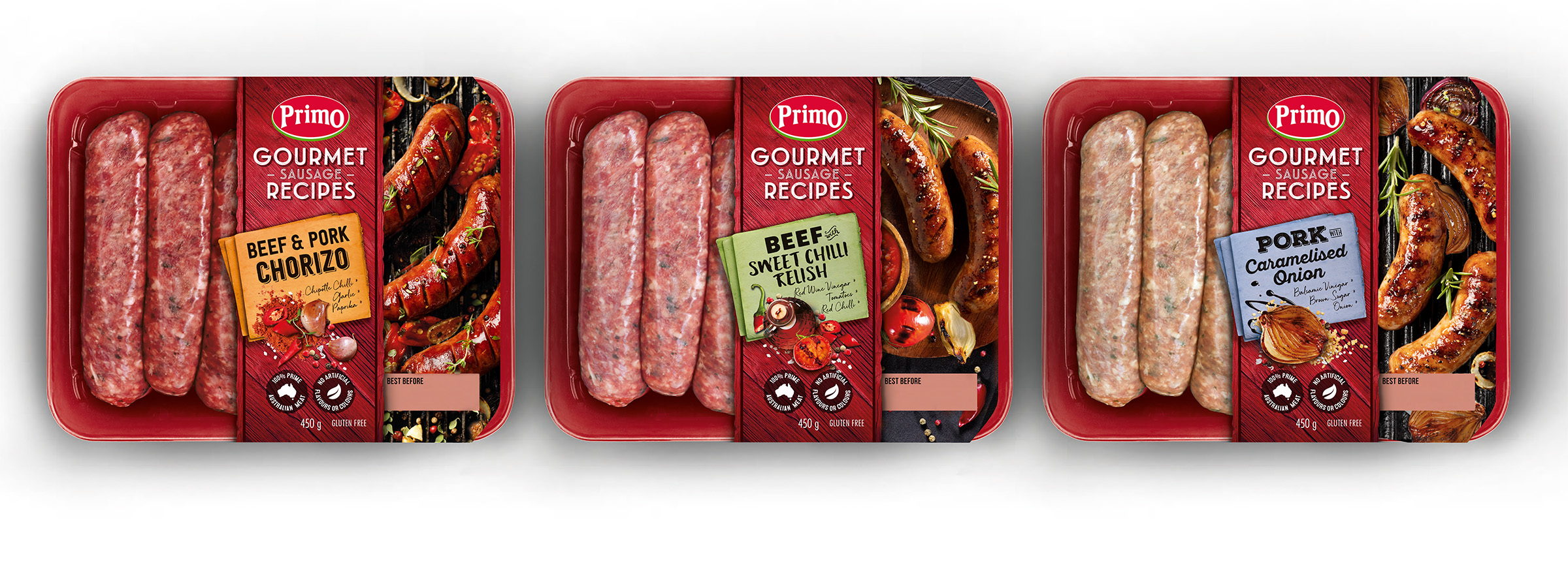 Studio product photography of Primo Gourmet Sausages