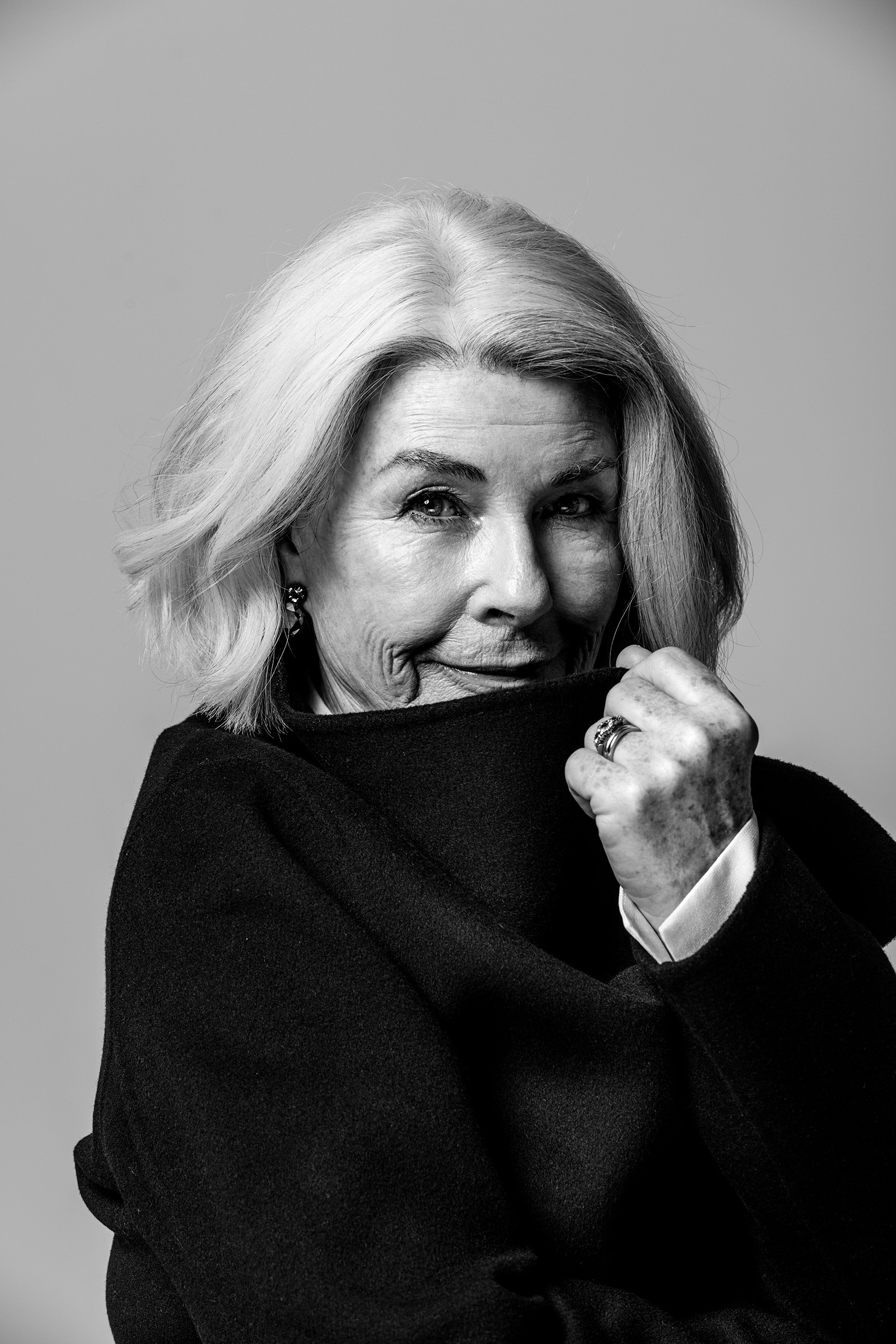 Editorial studio portrait Robin Nevin Probus close up black and white
