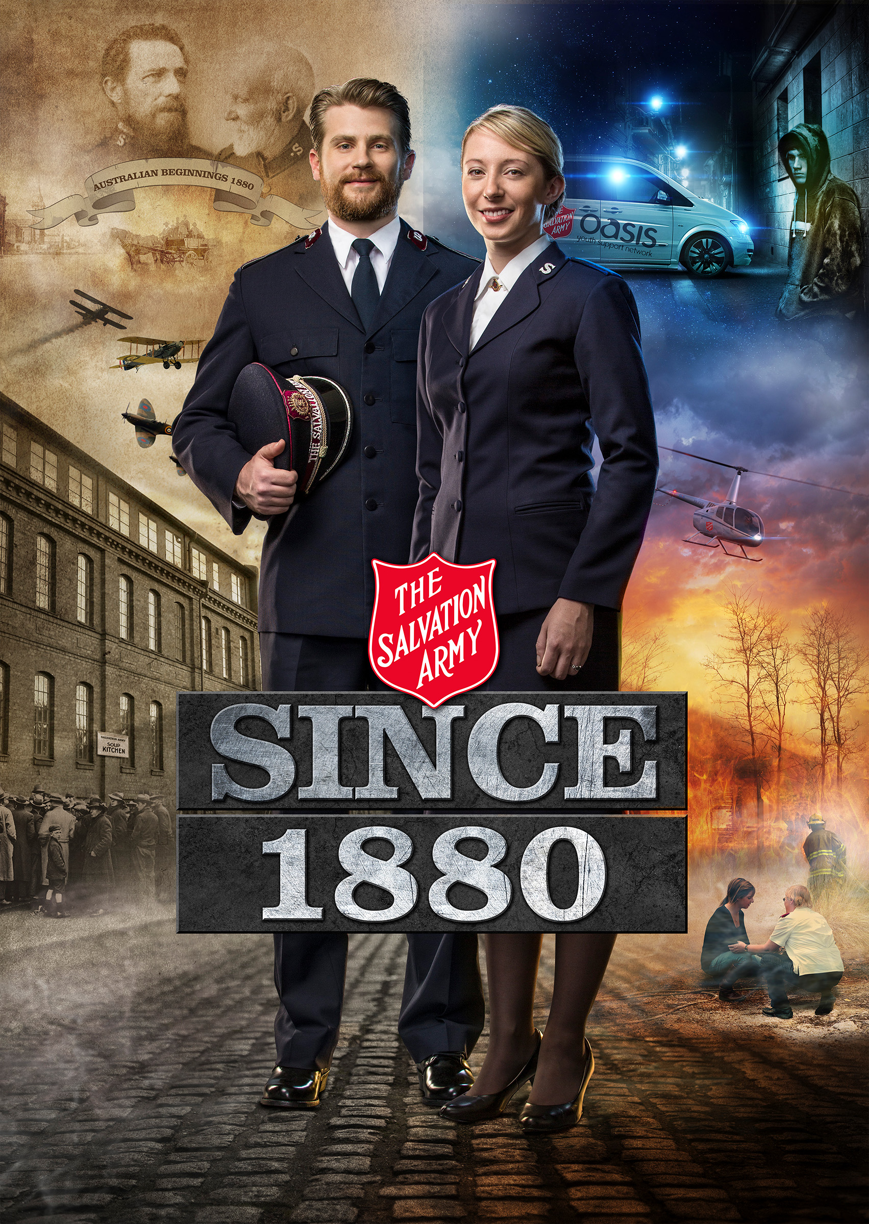 Advertising photography for Salvation Army historical photo montage of a man and woman