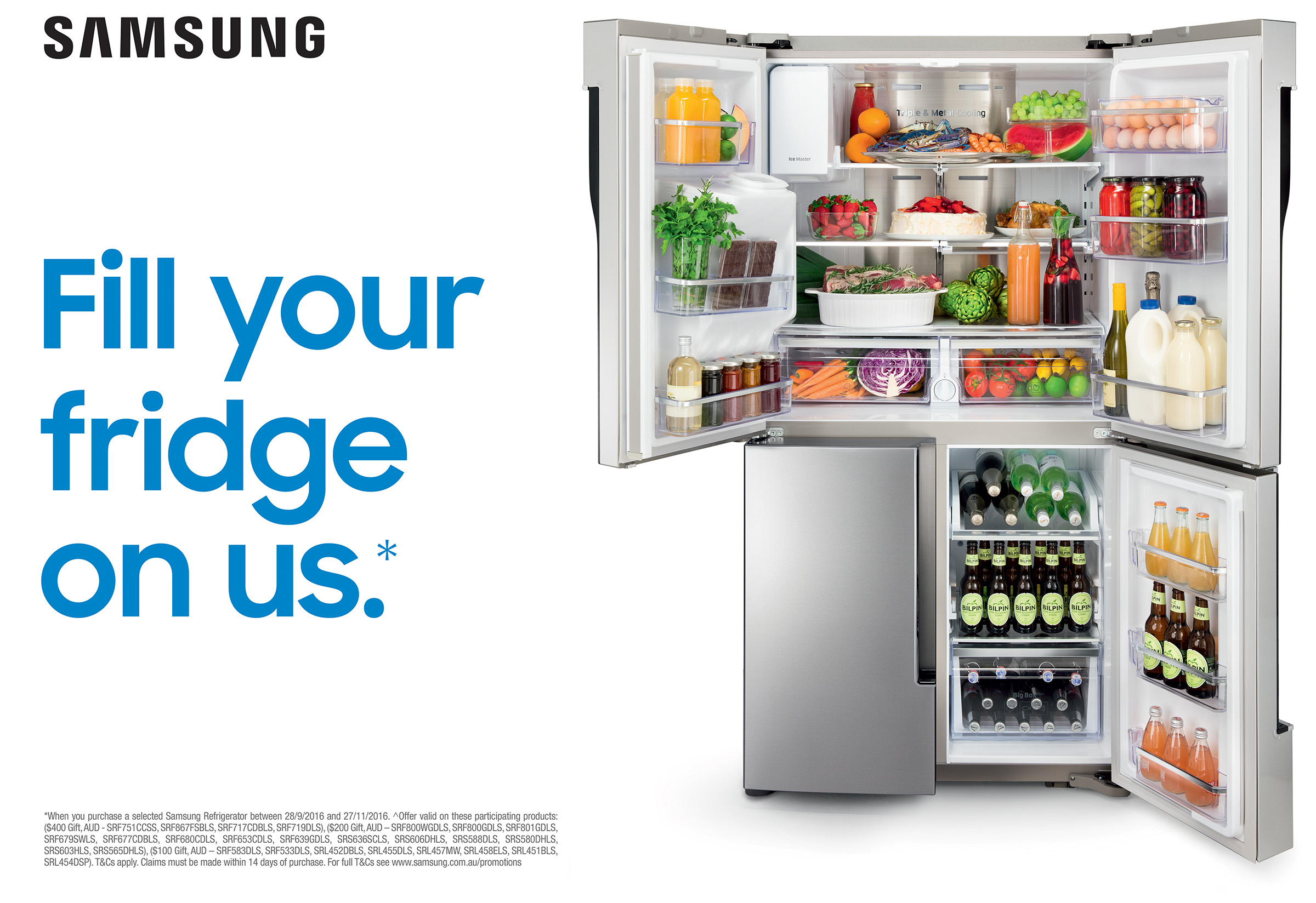 Advertising photography of Samsung fridge filled with delicious food and drinks
