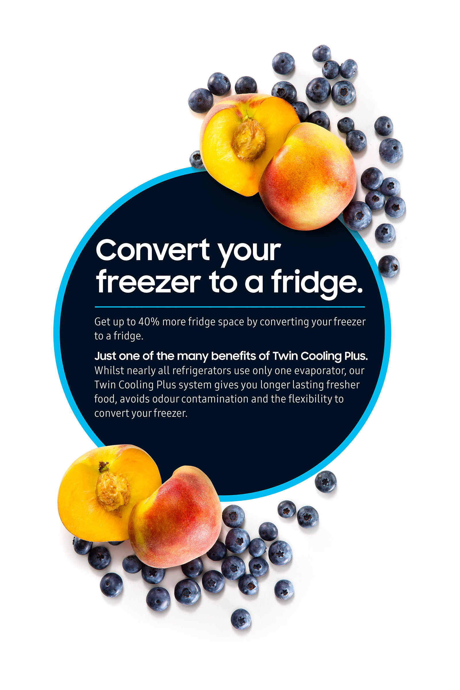 Keep delicious healthy fruit cooler in Samsung fridge peaches and blueberries