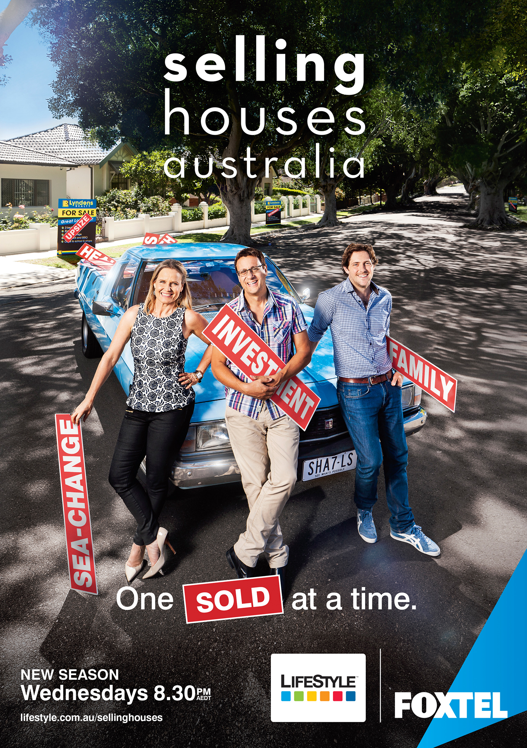 Advertising campaign photography of Selling Houses Australia hosts Shayna Blaze Andrew Winter Charlie Albone on shady street real estate location