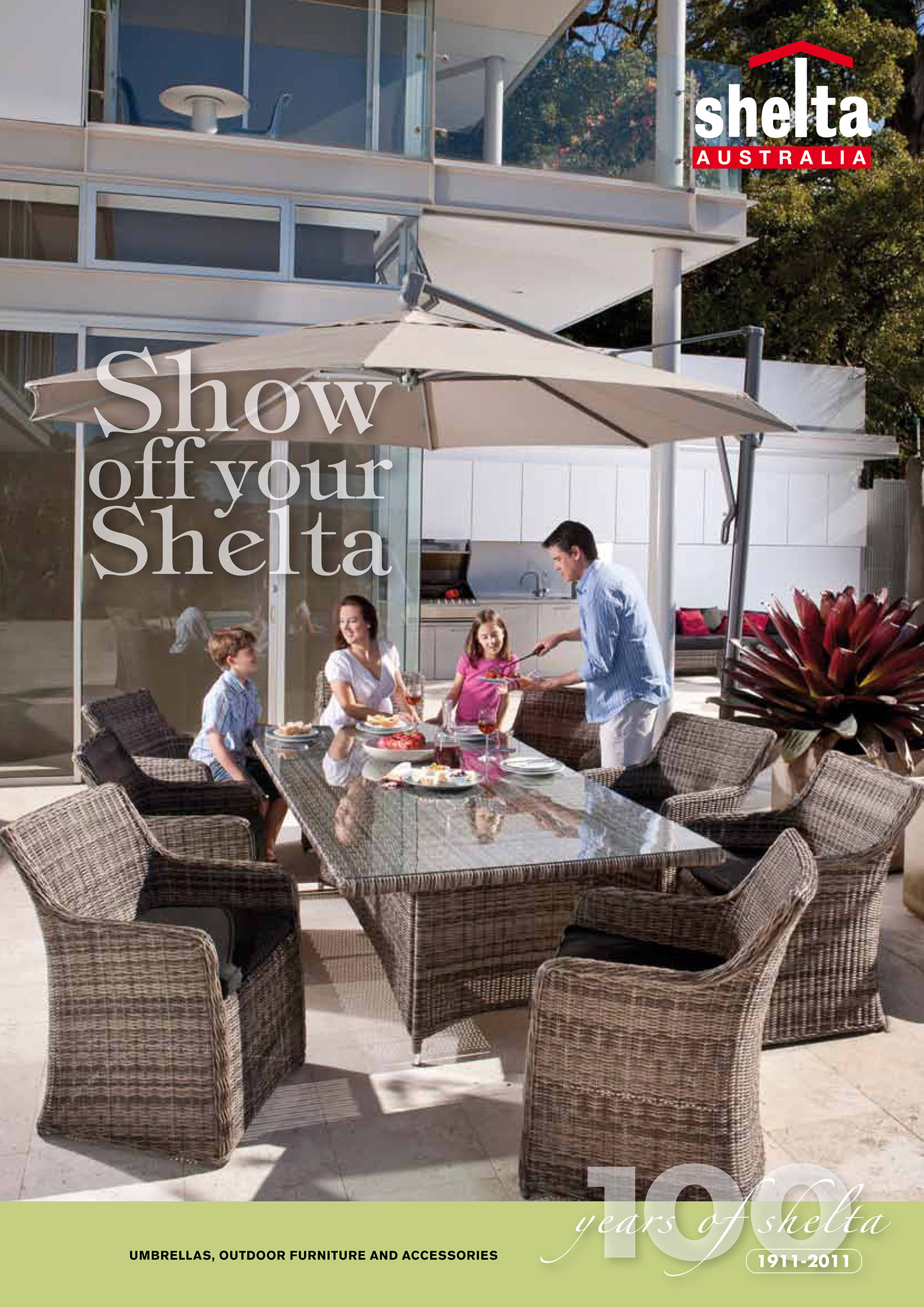 Advertising location photography for Shelta Australia with happy family having barbecue on patio outdoor furniture