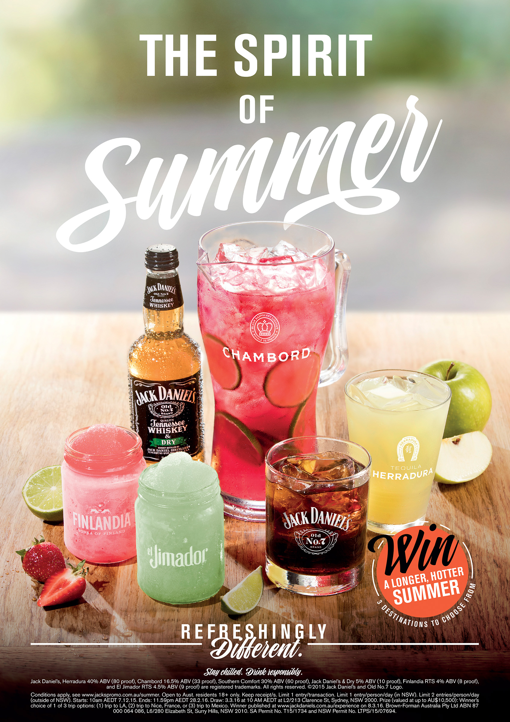 Advertising product photography of Jack Daniels, JD, Finlandia, el Jimador, Chambord Tennessee Whiskey refreshing drinks on a table