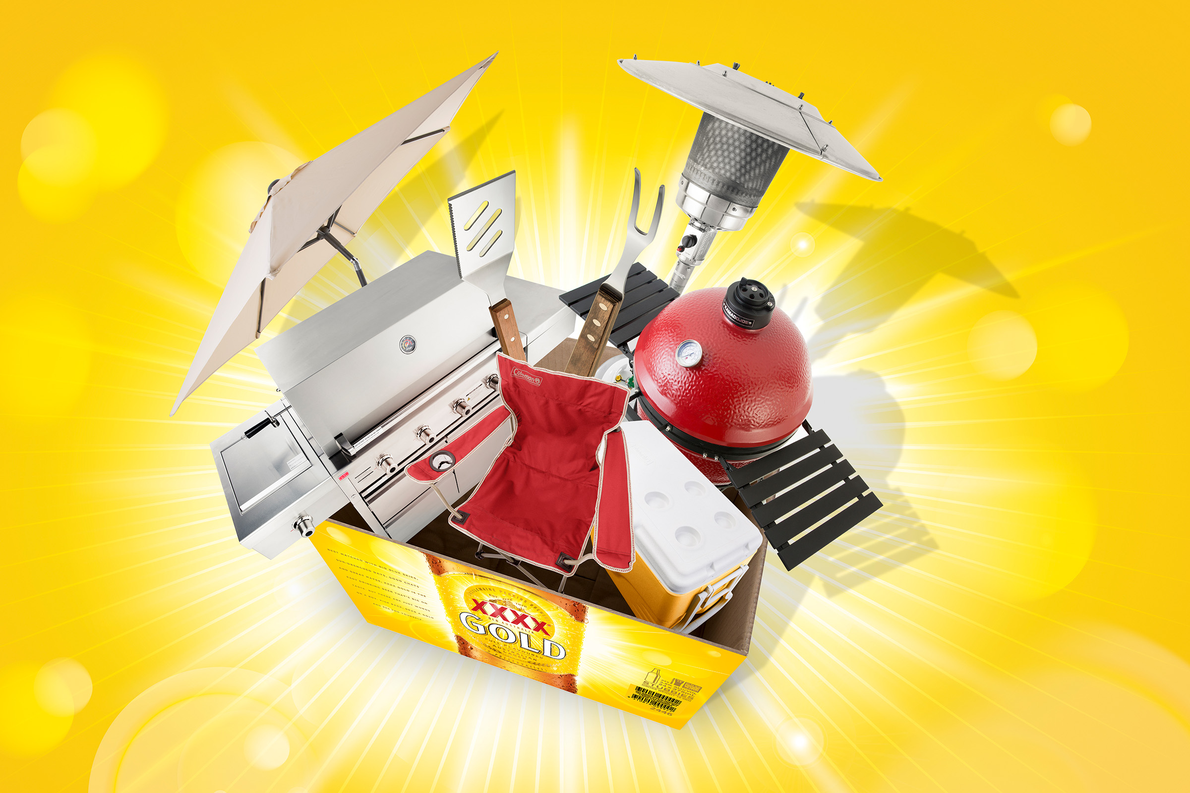 XXXX advertising photography of beer and barbecue prize pack bbq, chairs, outdoor heaters, bbq tools, esky, bursting out of xxxx case of beer