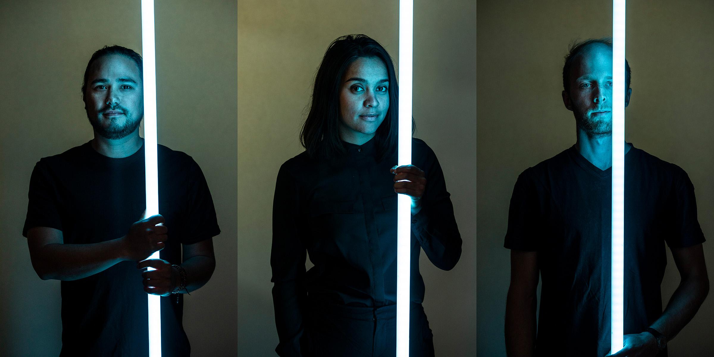 Editorial location portrait creative photography amigo&amigo team Renzo Simone Chris holding fluorescent tube light
