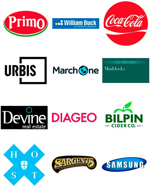 company logos Primo Urbis Diageo Coca Cola Bilpin Cider Co. Samsung