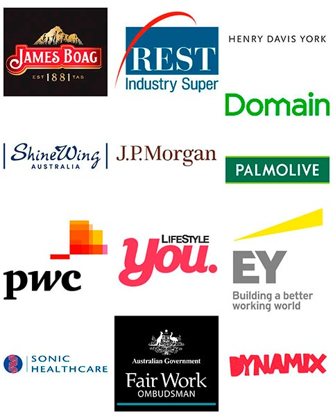 Company logos Rest Industry Super PWC JP Morgan EY Pamolive Domain
