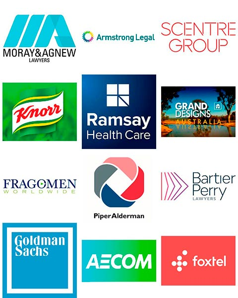 Company logos Scentre Group Ramsay Health Care Bartier Perry AECOM Foxtel