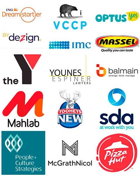 Company logos Optus Massel SDA Pizza Hut Mahlab Tooheys New