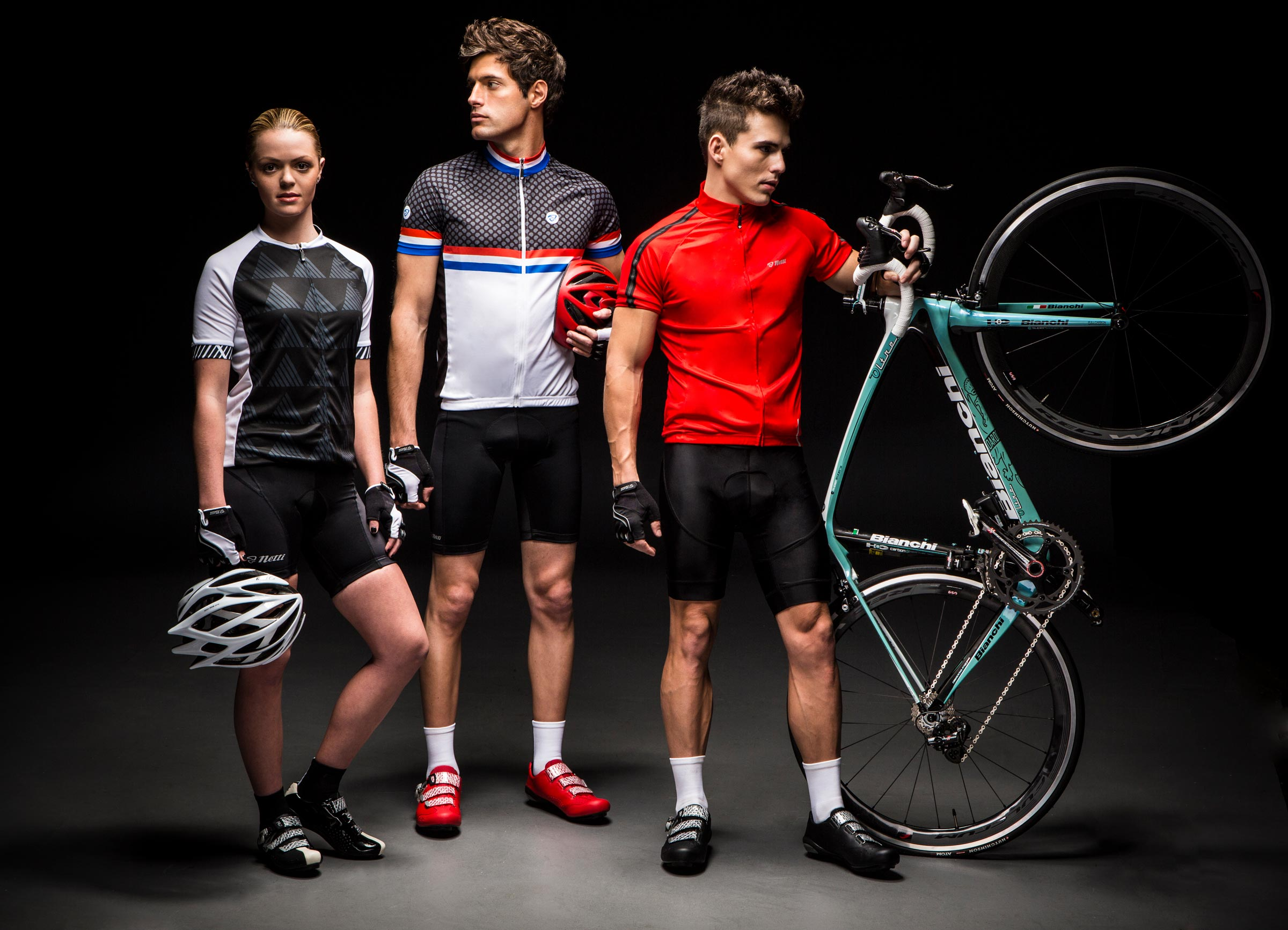 models wearing cycling clothing in studio