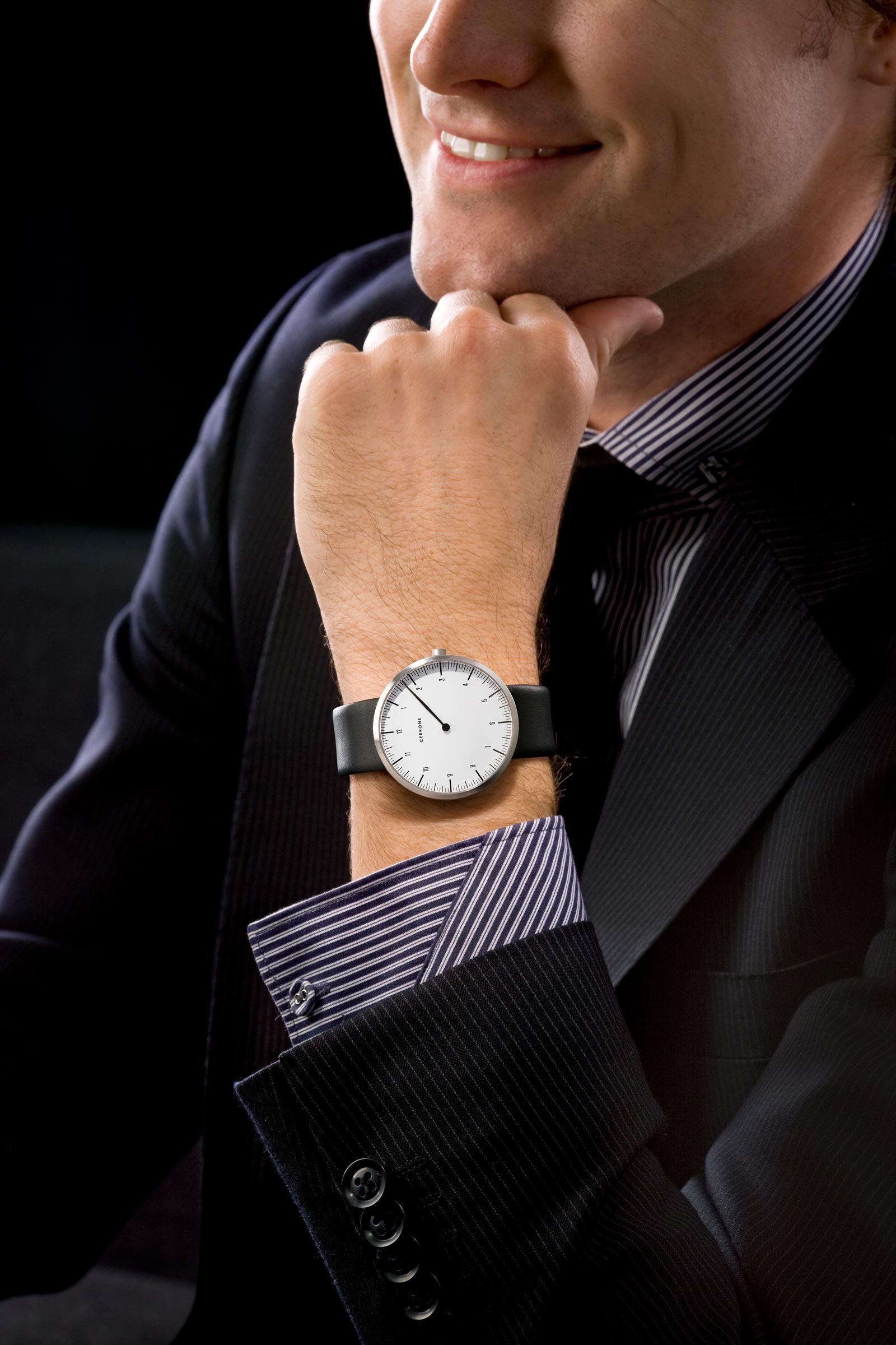 close up of corporate male wearing watch