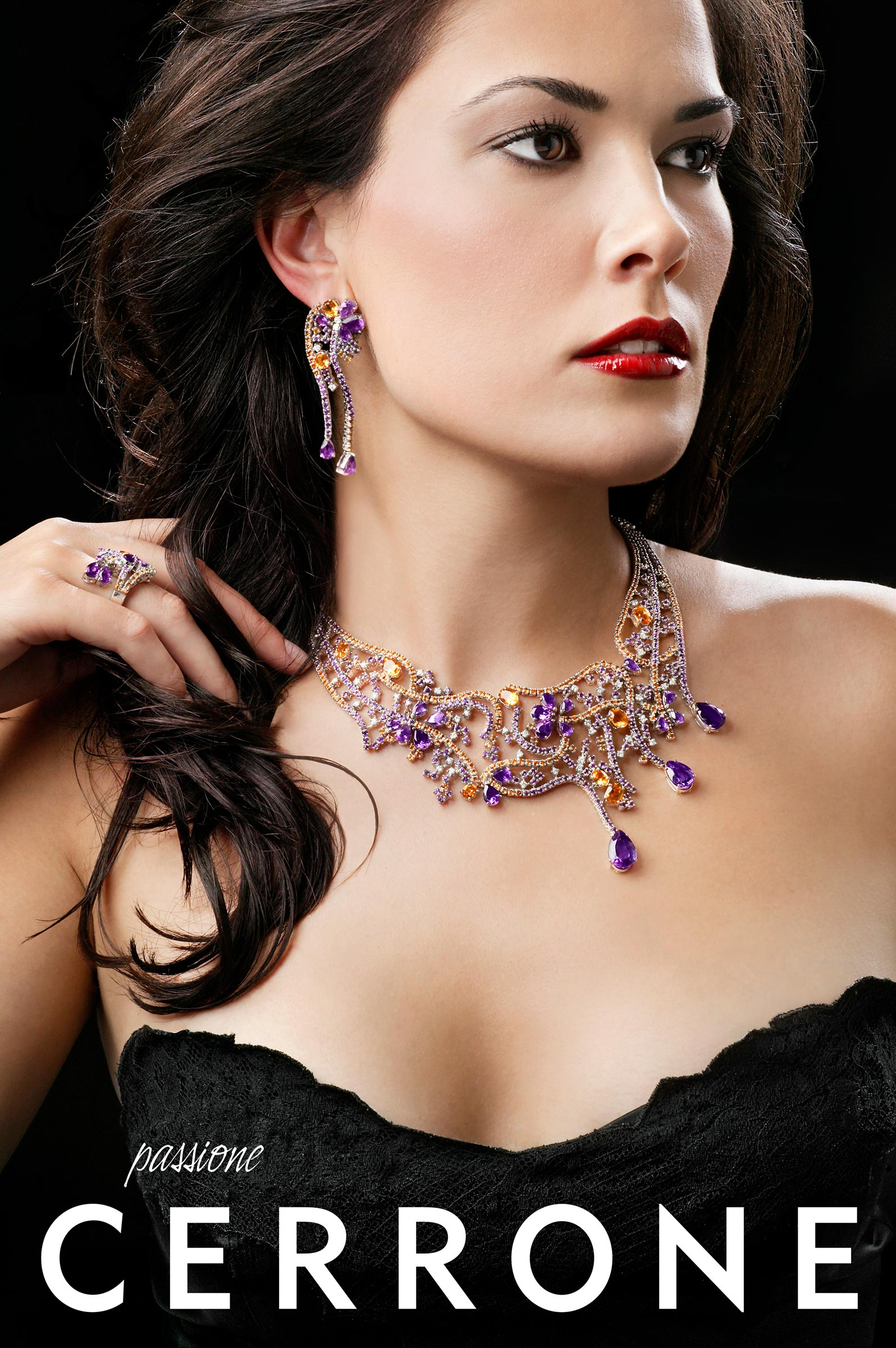 beautiful woman wearing fancy necklace, earrings and ring