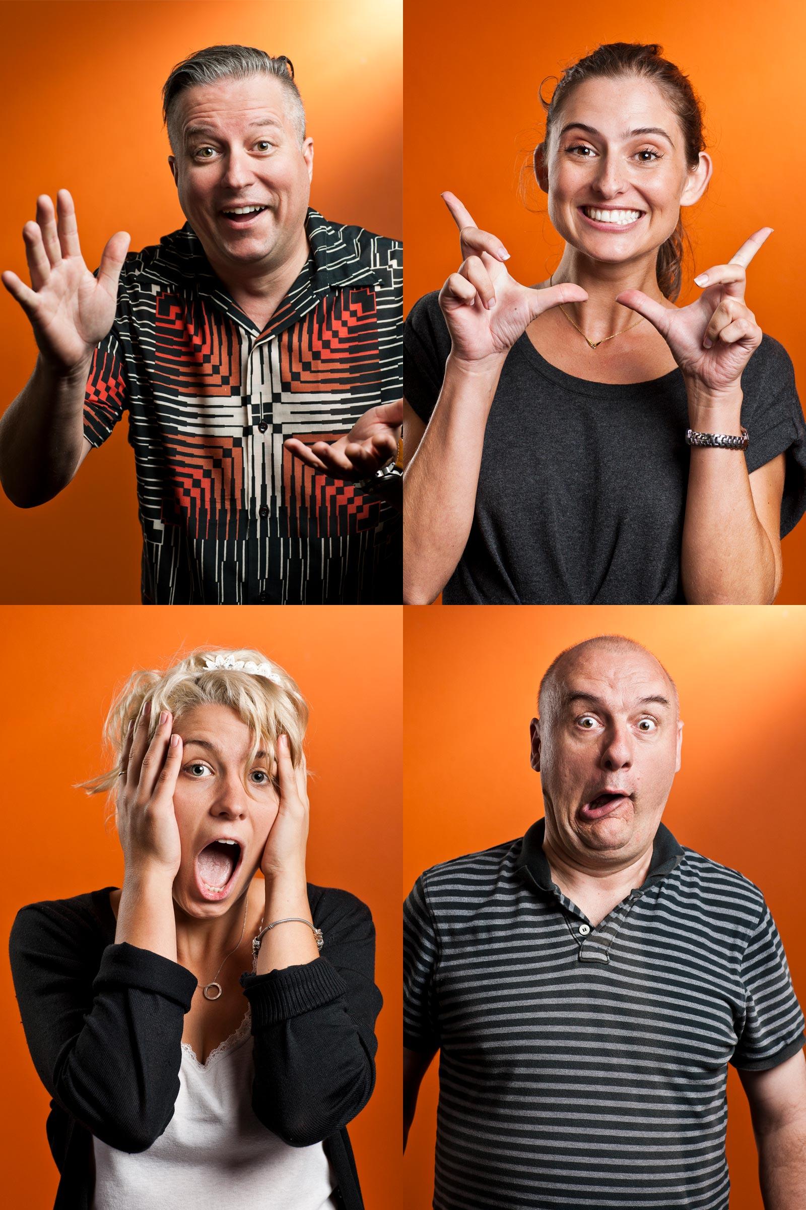 Corporate location portrait creative photography 2 male 2 female making faces orange background