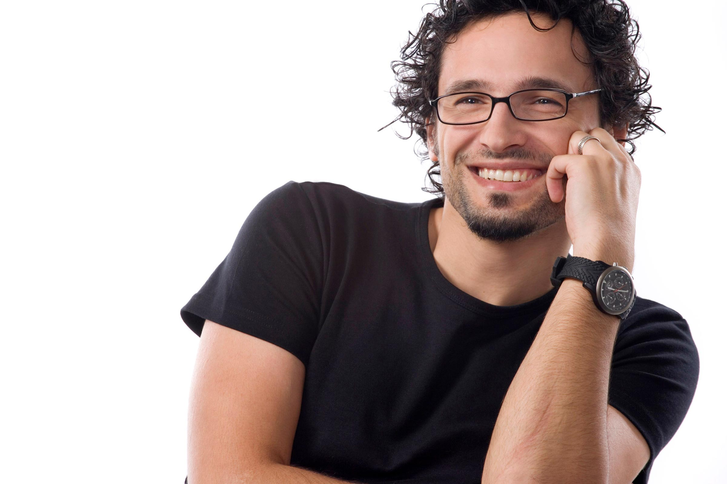 man in black t-shirt glasses and watch smiling