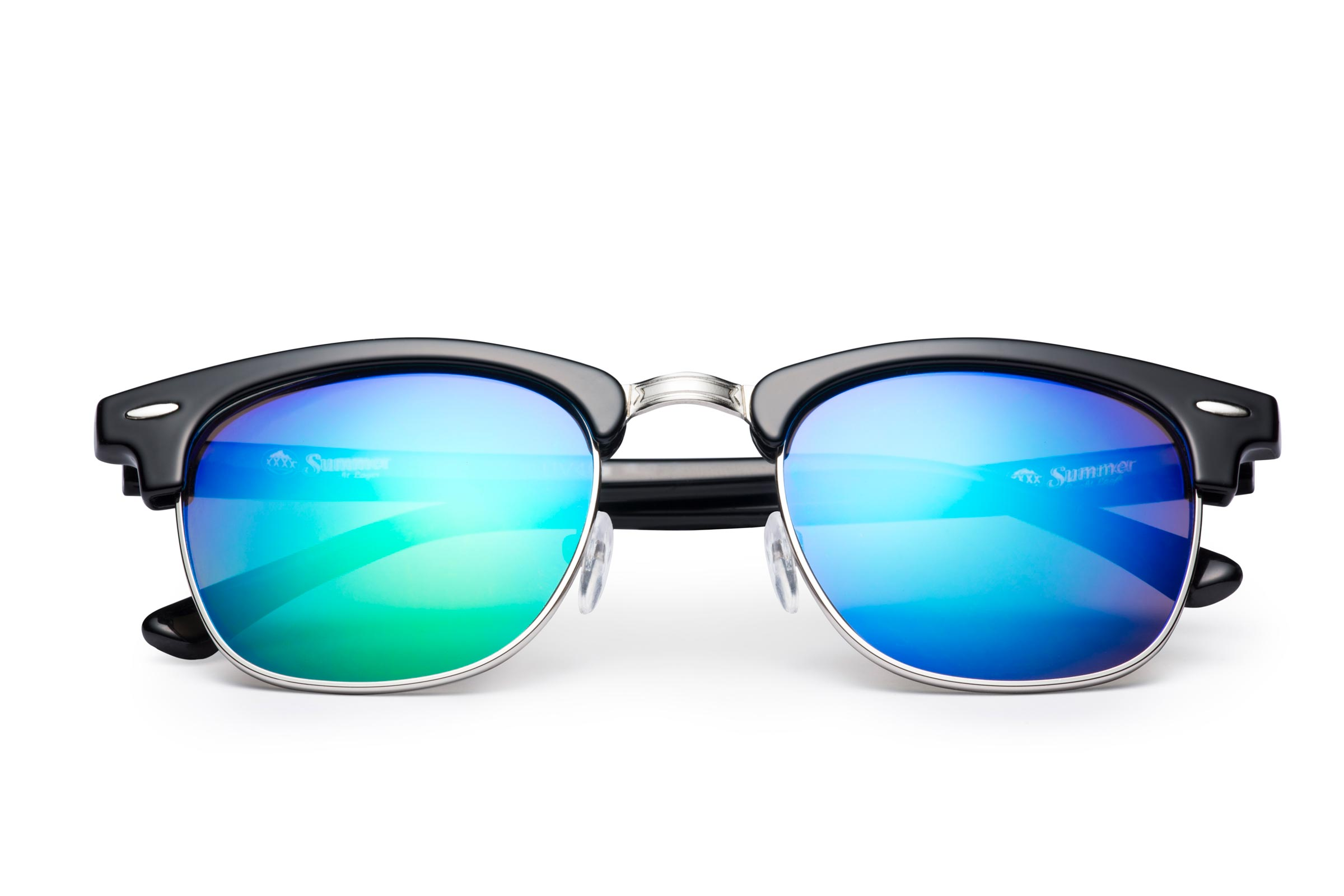 black and wire sunglasses with mirror blue lenses