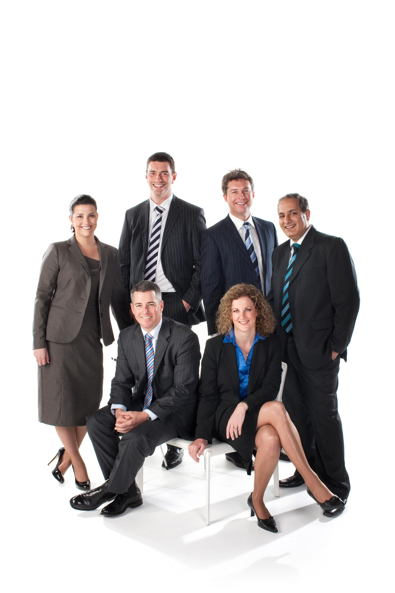 corporate group of 6 people on white background